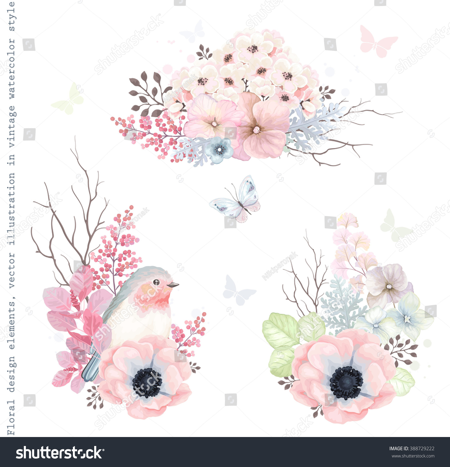 Collection Vector Decorative Design Flowers Robin Stock