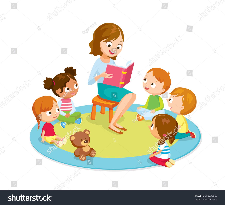 teacher reading kids kinder garden stock vector 388730560 shutterstock. Black Bedroom Furniture Sets. Home Design Ideas
