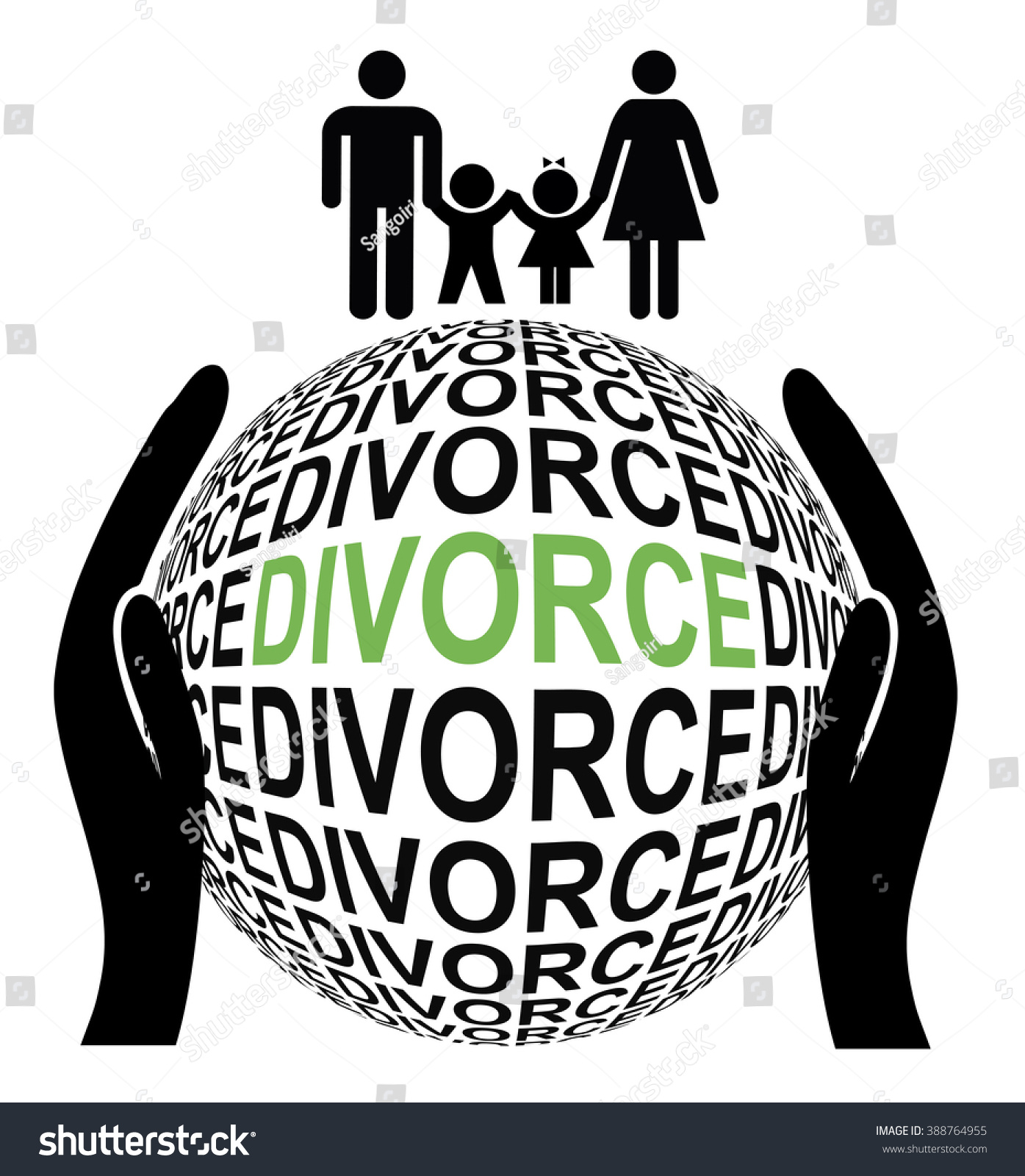 Amicable Peaceful Divorce Couple Separates By Stock Illustration