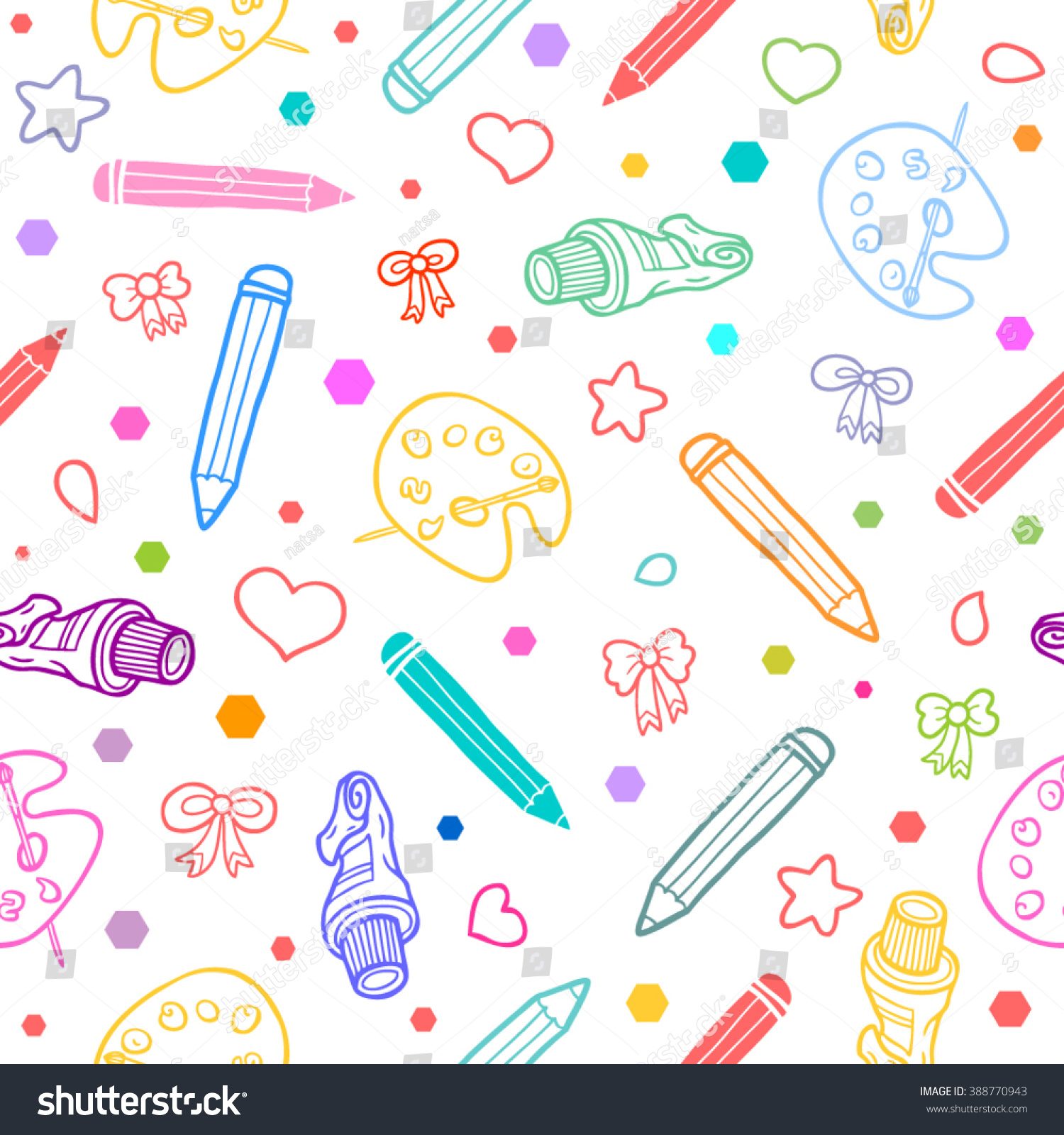 Art school seamless pattern colorful on stock vector for Good drawing websites