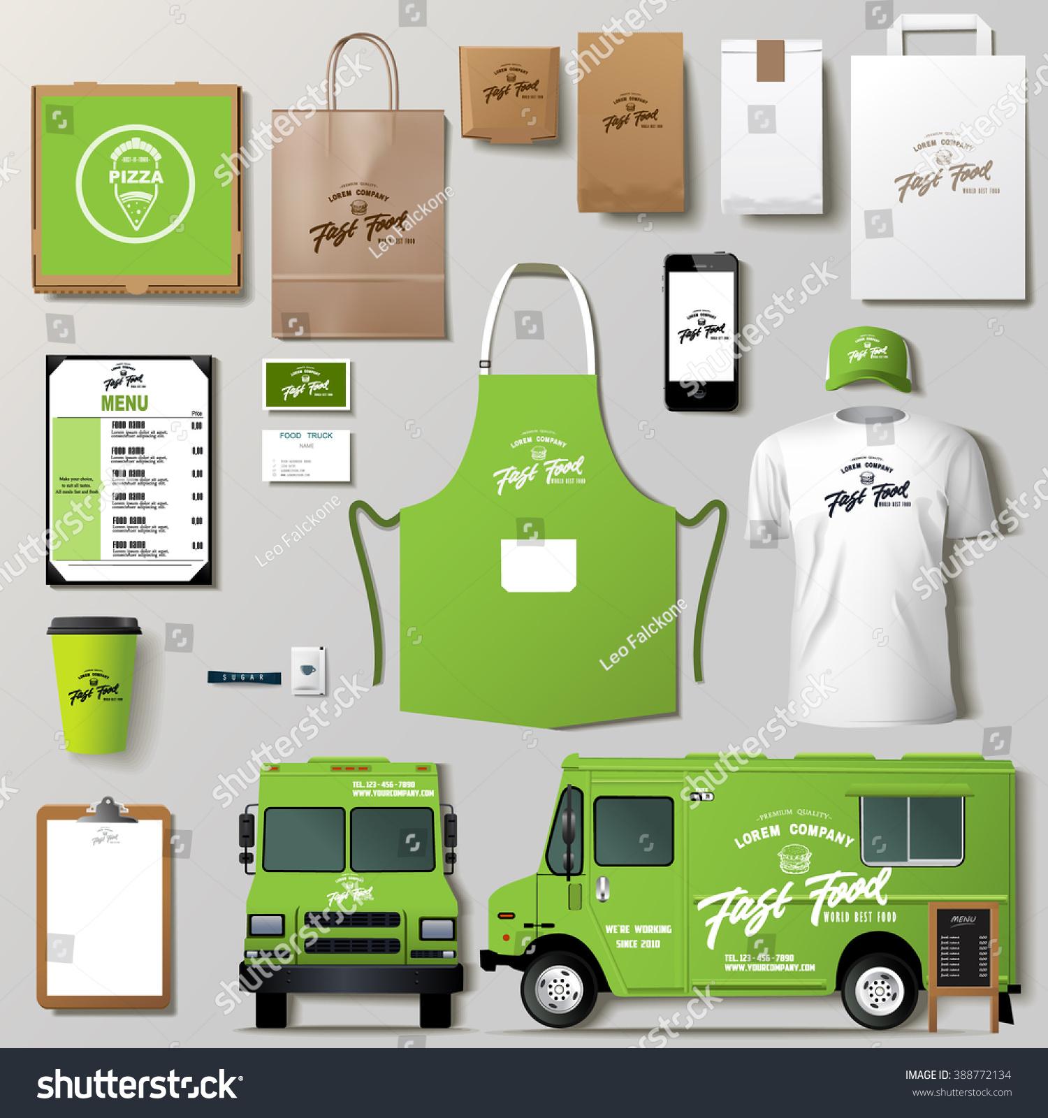 vector food truck corporate identity template stock vector 388772134 shutterstock. Black Bedroom Furniture Sets. Home Design Ideas