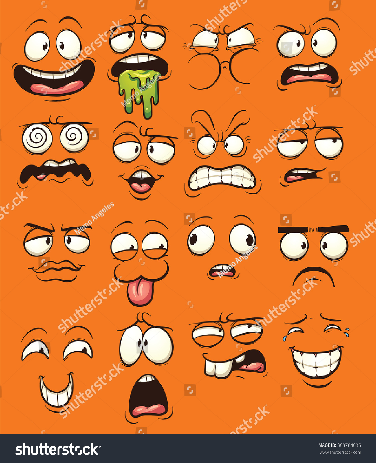 Funny Cartoon Faces Vector Clip Art Stock Vector 388784035 ...