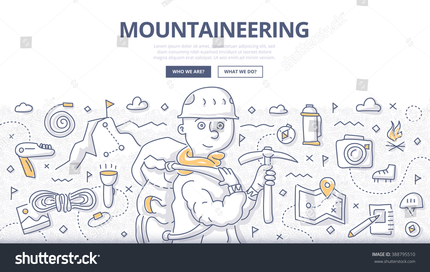 Doodle vector illustration of mountain exploration climbing adventure trekking and outdoor recreation Concept of mountaineering for web banners hero images printed materials