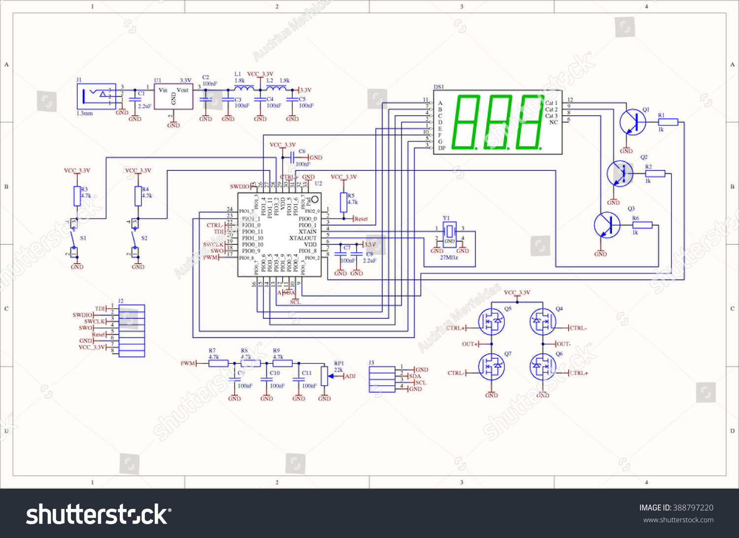 Electronic Circuit Schematic Embedded System Stock Illustration Schematics Of