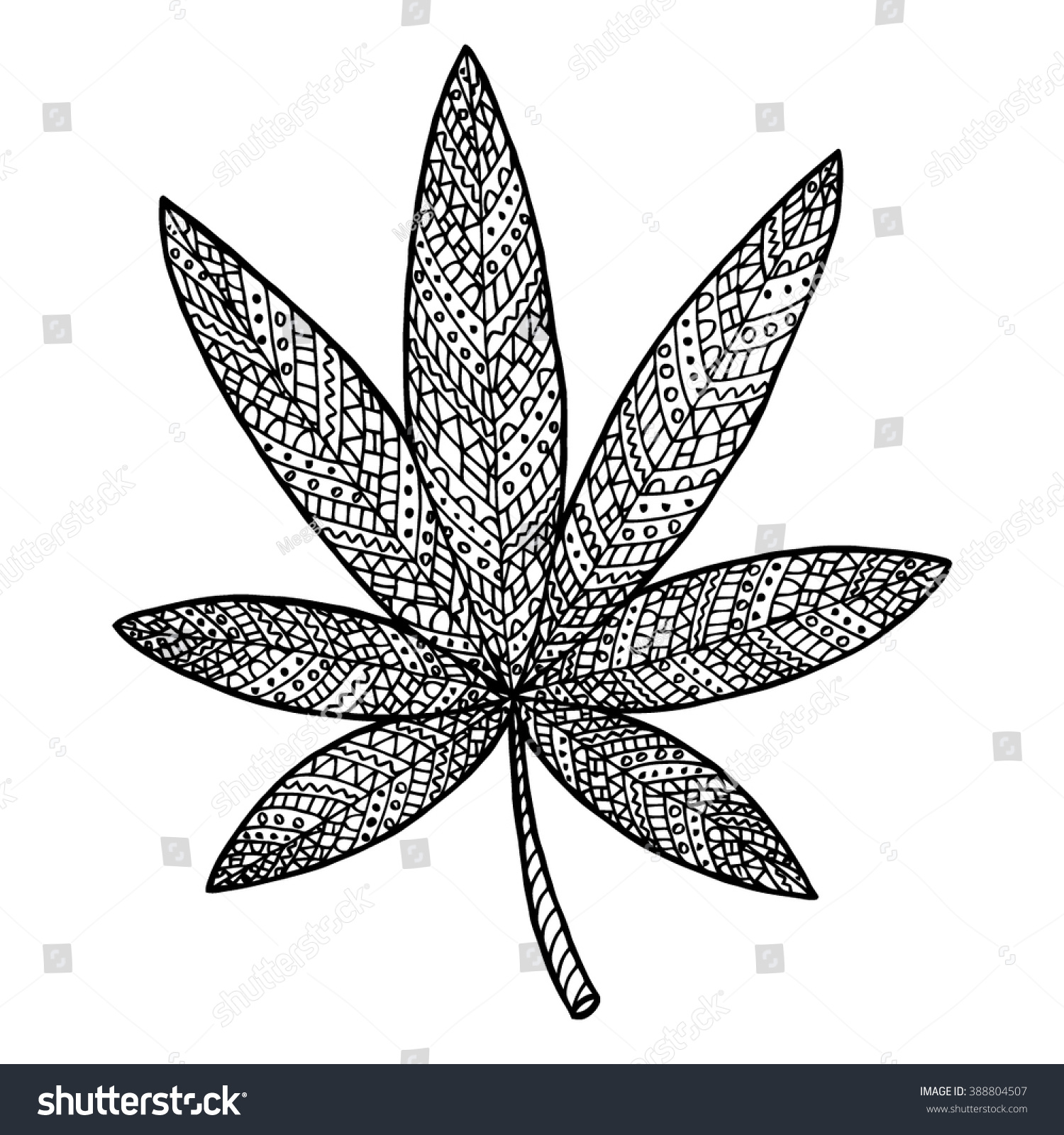 cannabis vector narcotic zen tangle and doodle indica coloring book herb tattoo - Cannabis Coloring Book
