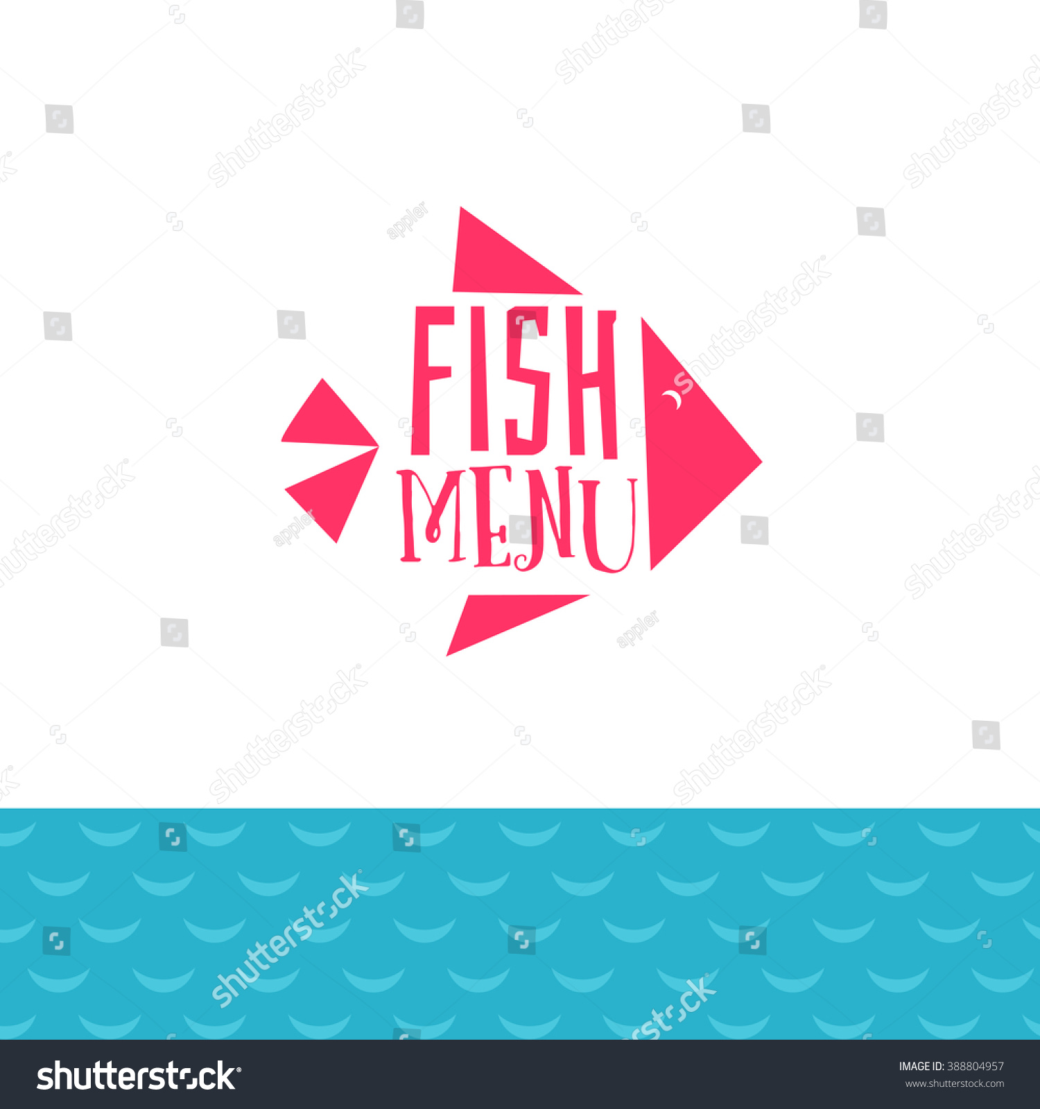 fish menu logo sea waves decor stock vector 388804957 - shutterstock