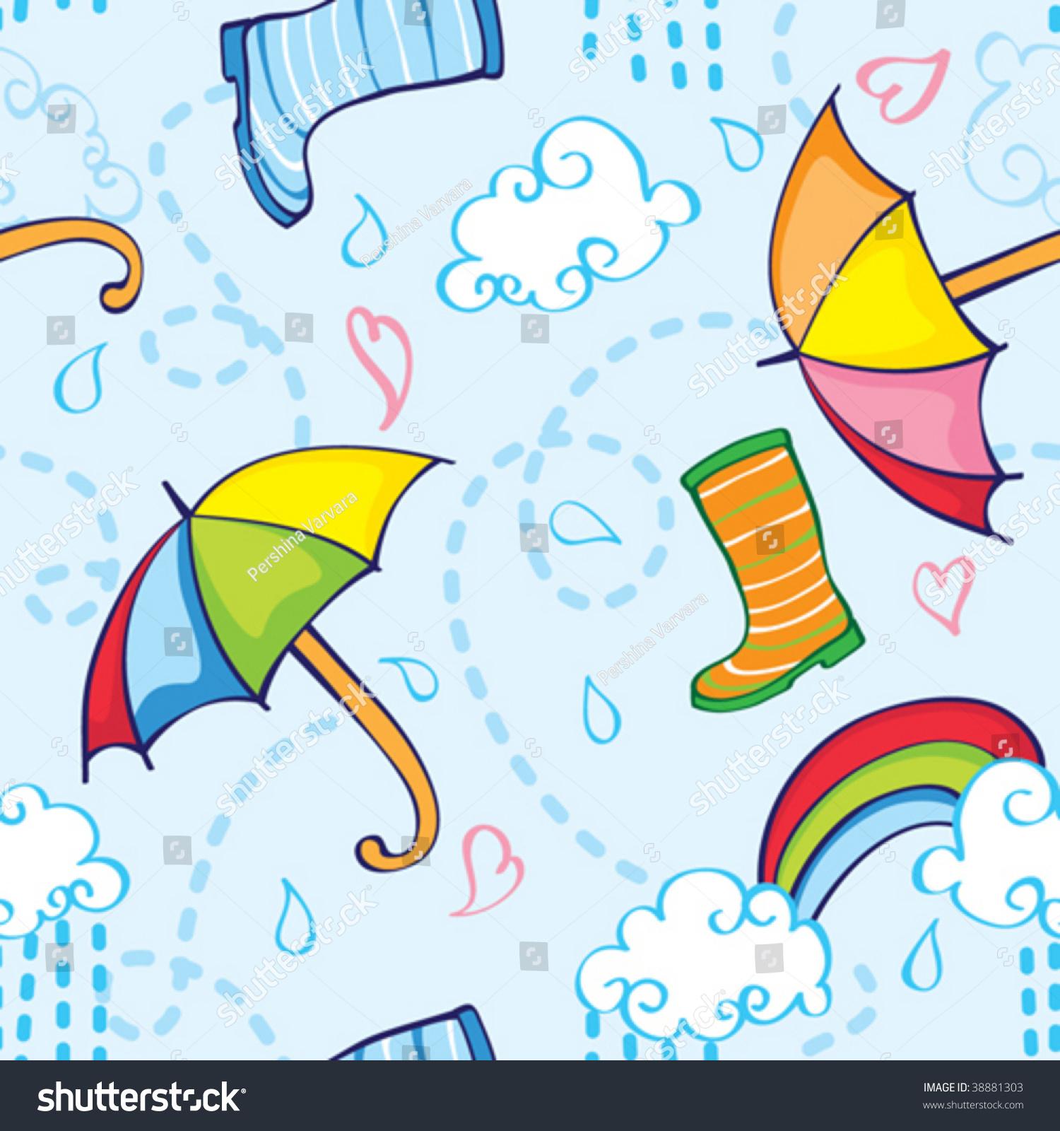 Rainy Season Elements Seamless Pattern Stock Vector ...