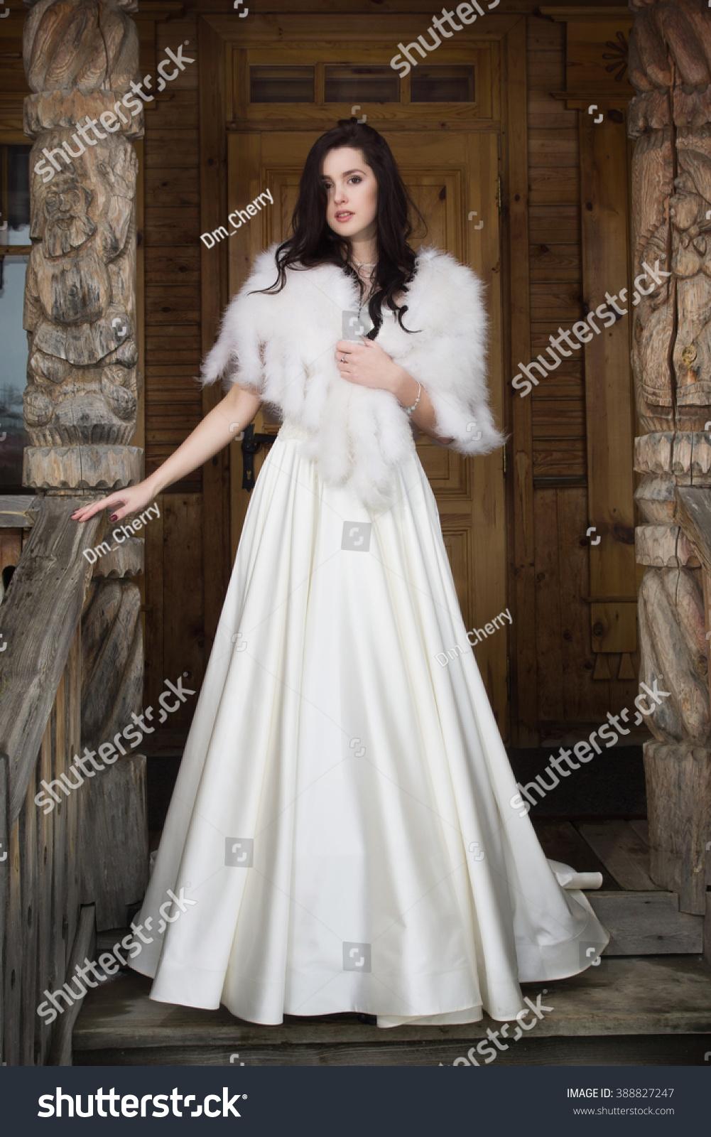 Russian Wedding Bride Fur Cape On Stock Photo (Royalty Free ...