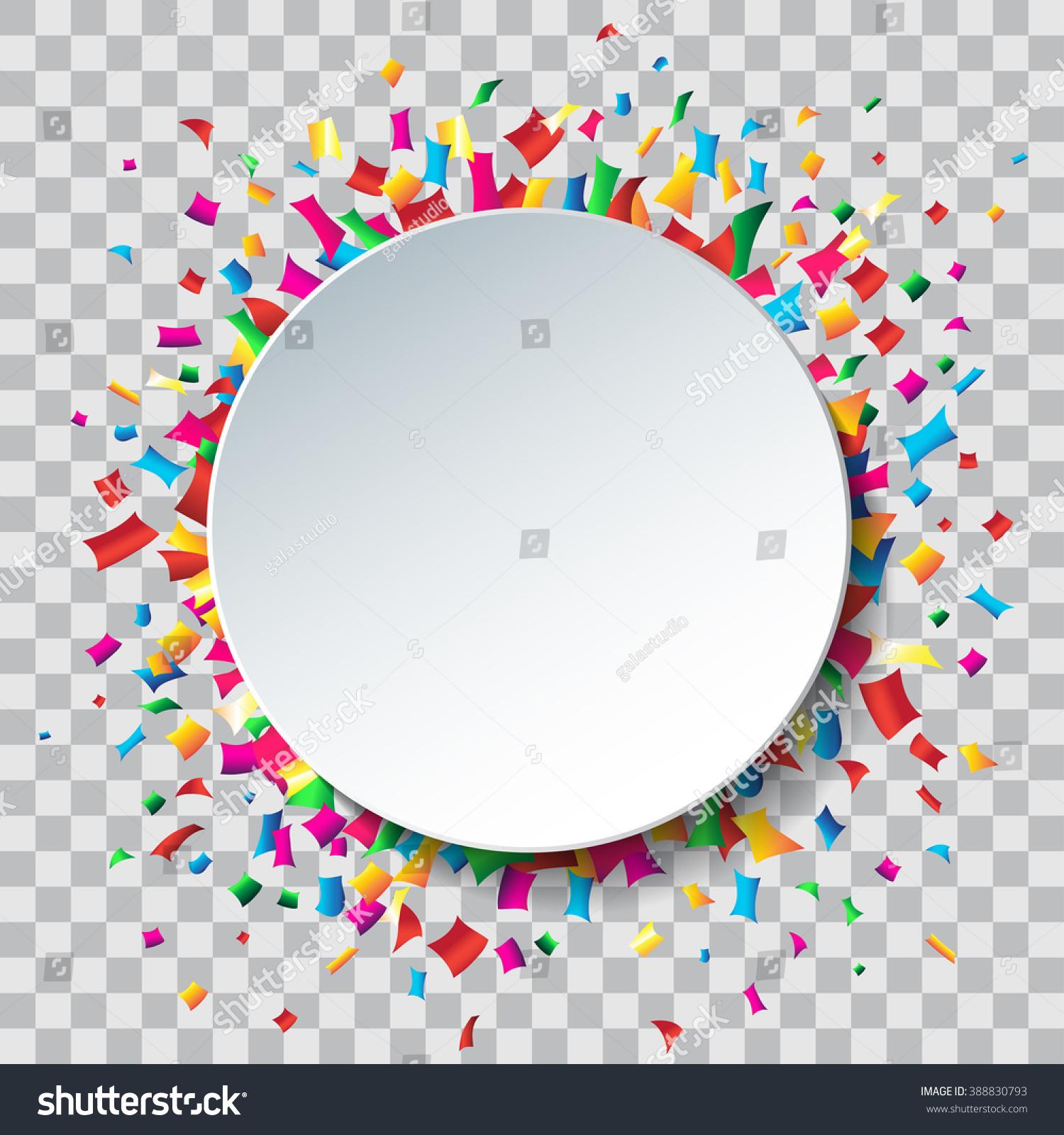 Empty White Circle Colorful Confetti Transparent Stock Vector