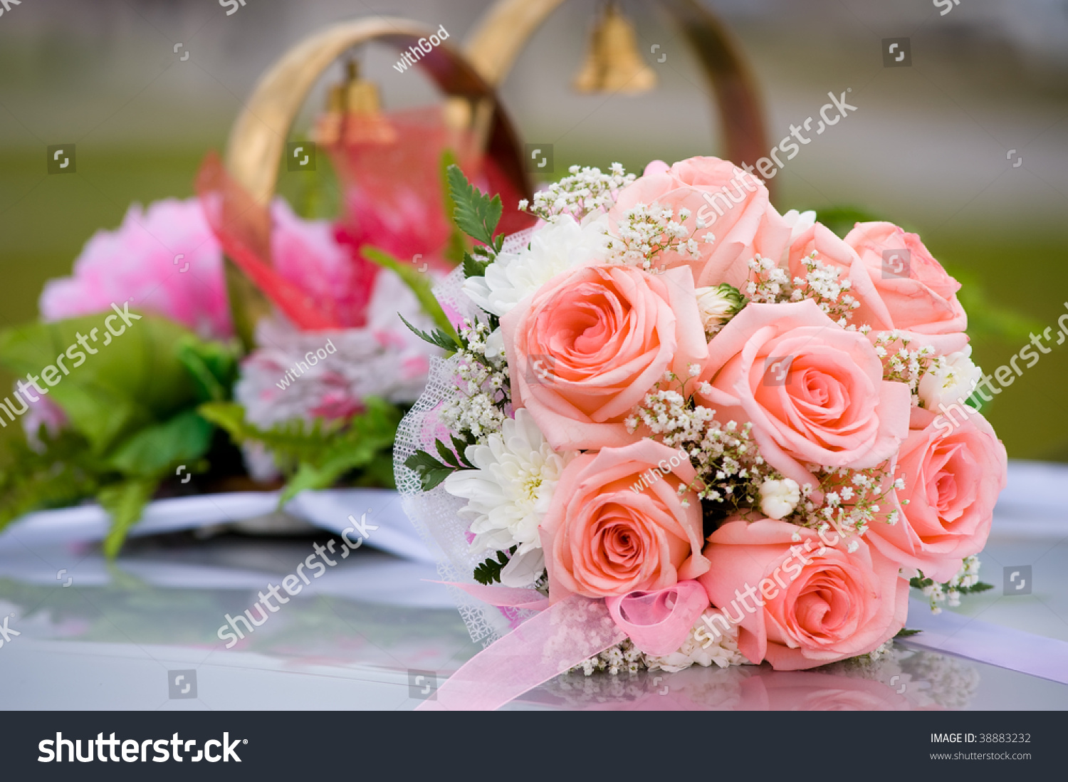 Brides Bouquet Roses Against Car Wedding Stock Photo (Royalty Free ...