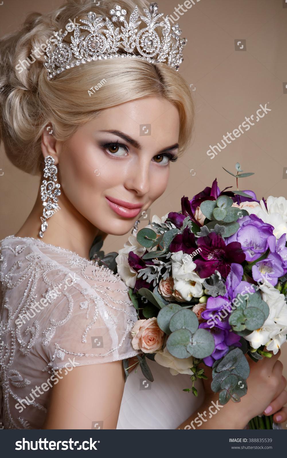 beautiful bride portrait wedding makeup hairstyle stock photo (edit