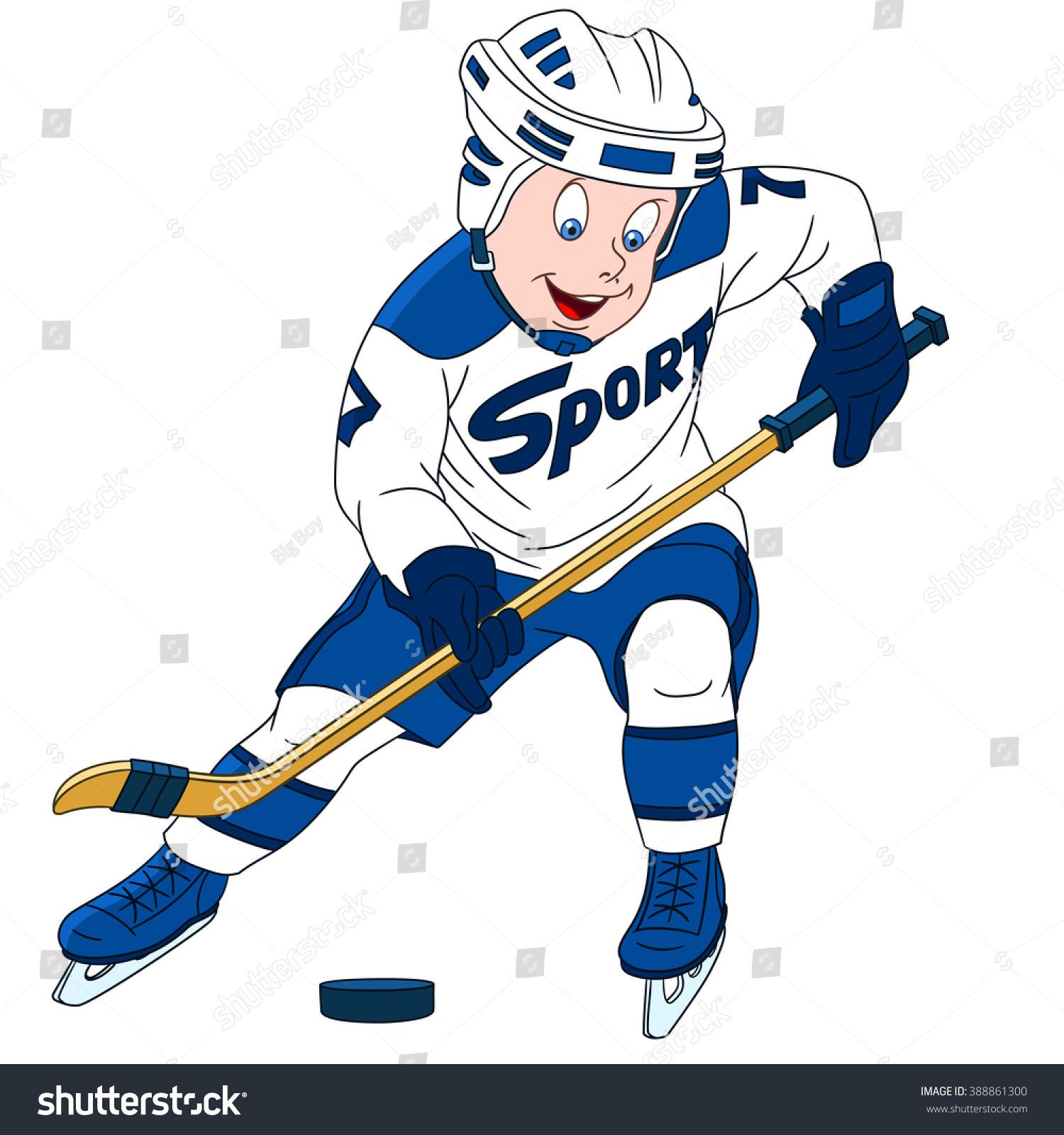 Hockey Player Sport Concept Cartoon Character Stock Vector Royalty Free 388861300