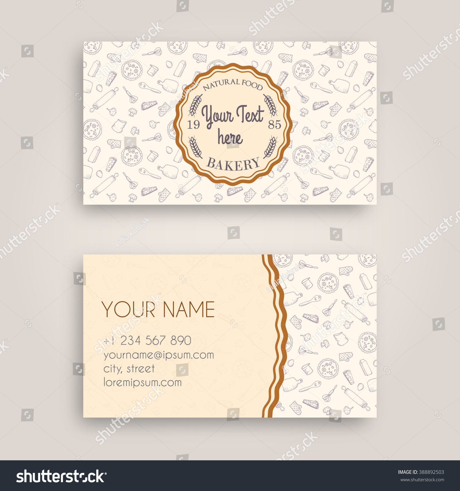 Vector Business Card Design Template Doodle Stock Vector (2018 ...