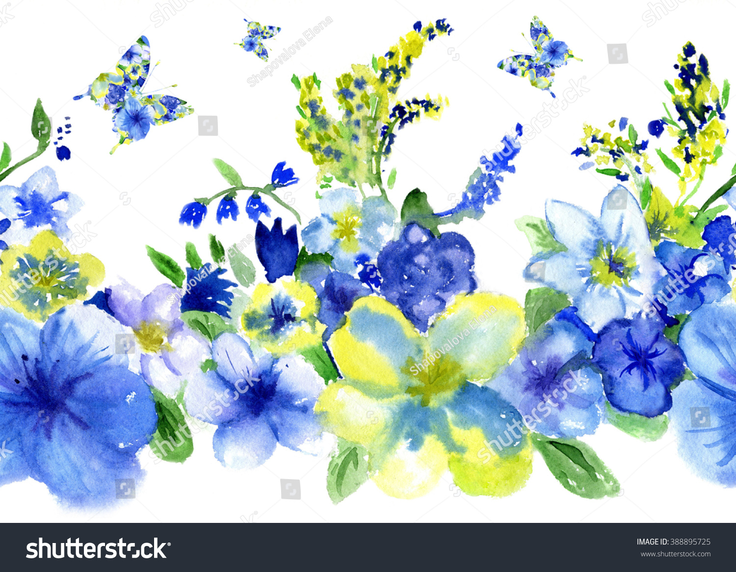 Pattern Watercolor Repetition Dark Blue Yellow Stock Illustration