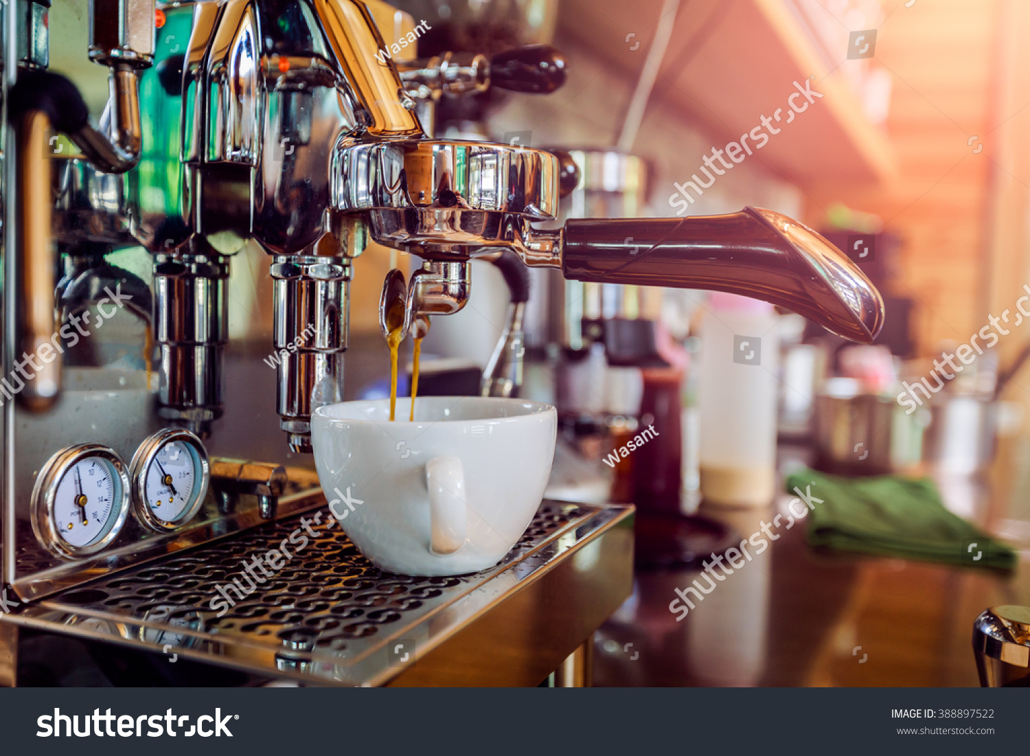 professional coffee machine making espresso cafe stock photo 388897522 shutterstock. Black Bedroom Furniture Sets. Home Design Ideas