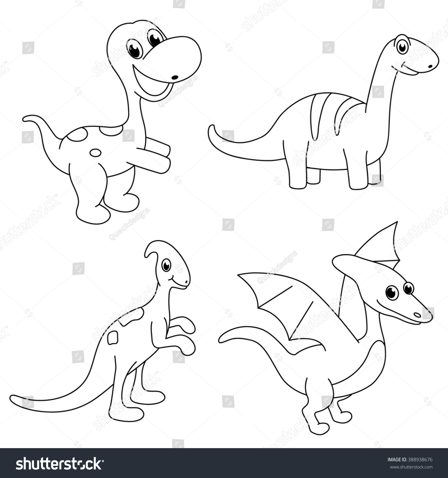 Set of dinosaur coloring page for kids… Stock Photo ...
