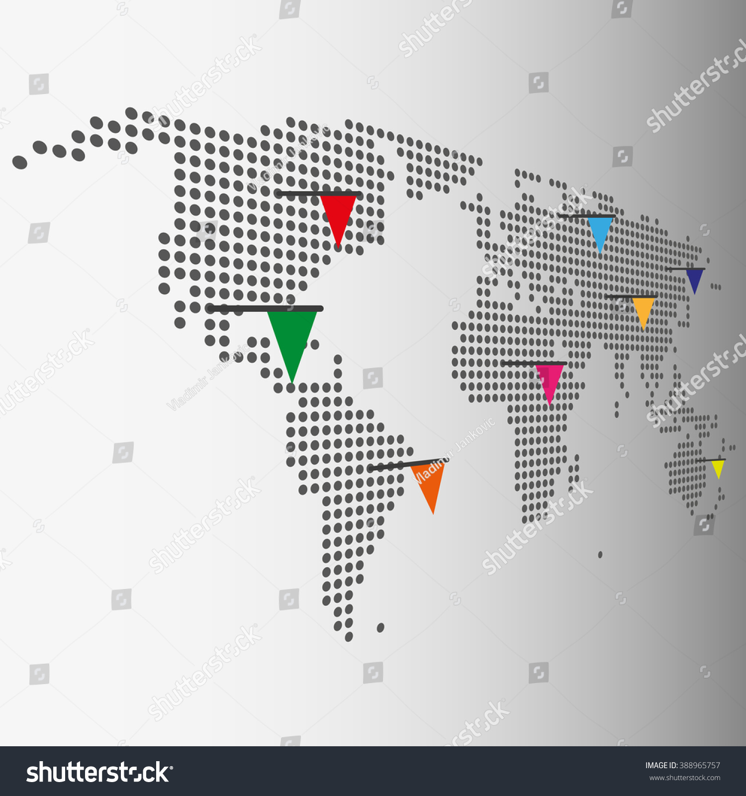 Dotted world map color pointer flags stock vector 388965757 dotted world map with color pointer flags vector graphic gumiabroncs Images