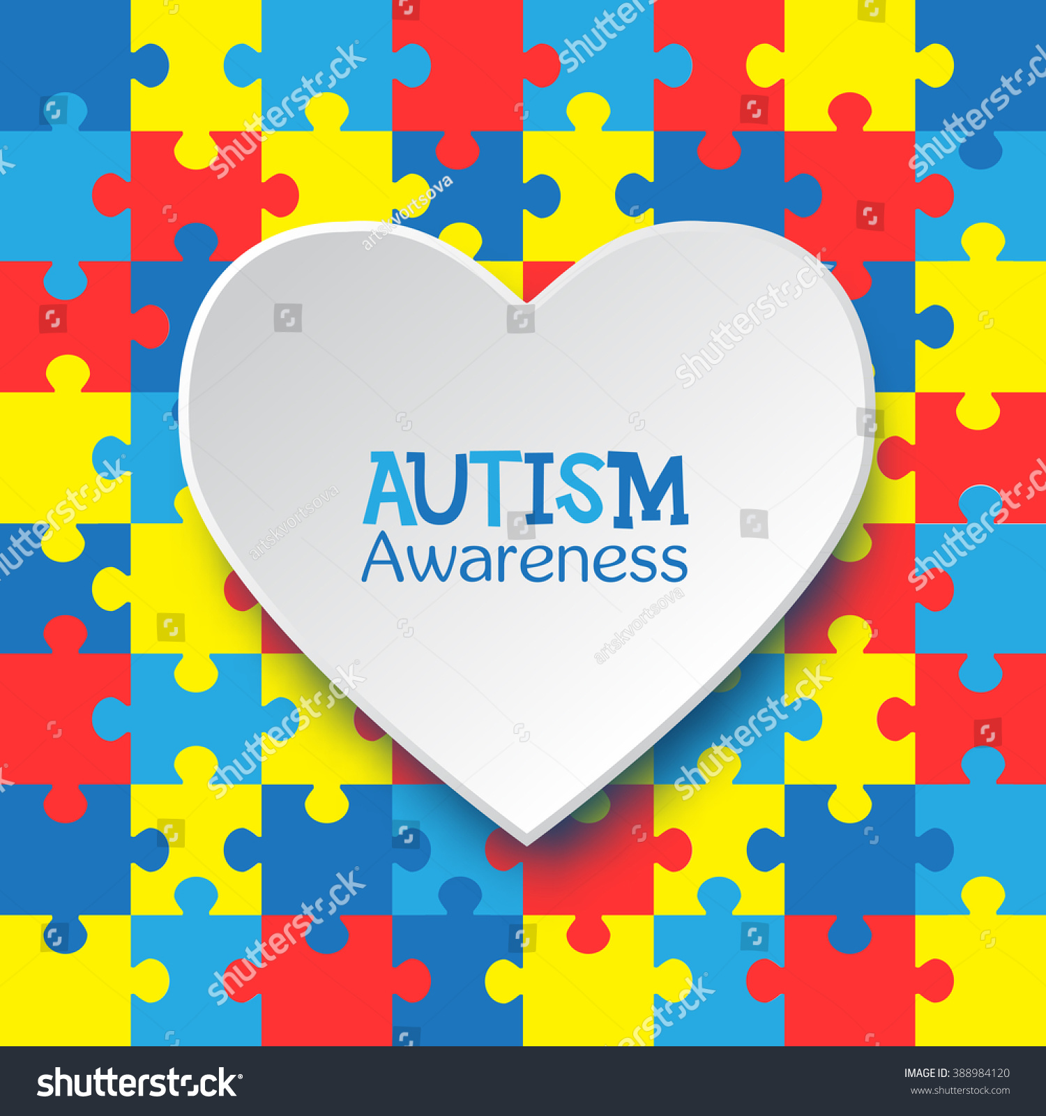 World autism awareness day colorful puzzles stock vector 388984120 world autism awareness day colorful puzzles vector background with heart symbol of autism biocorpaavc