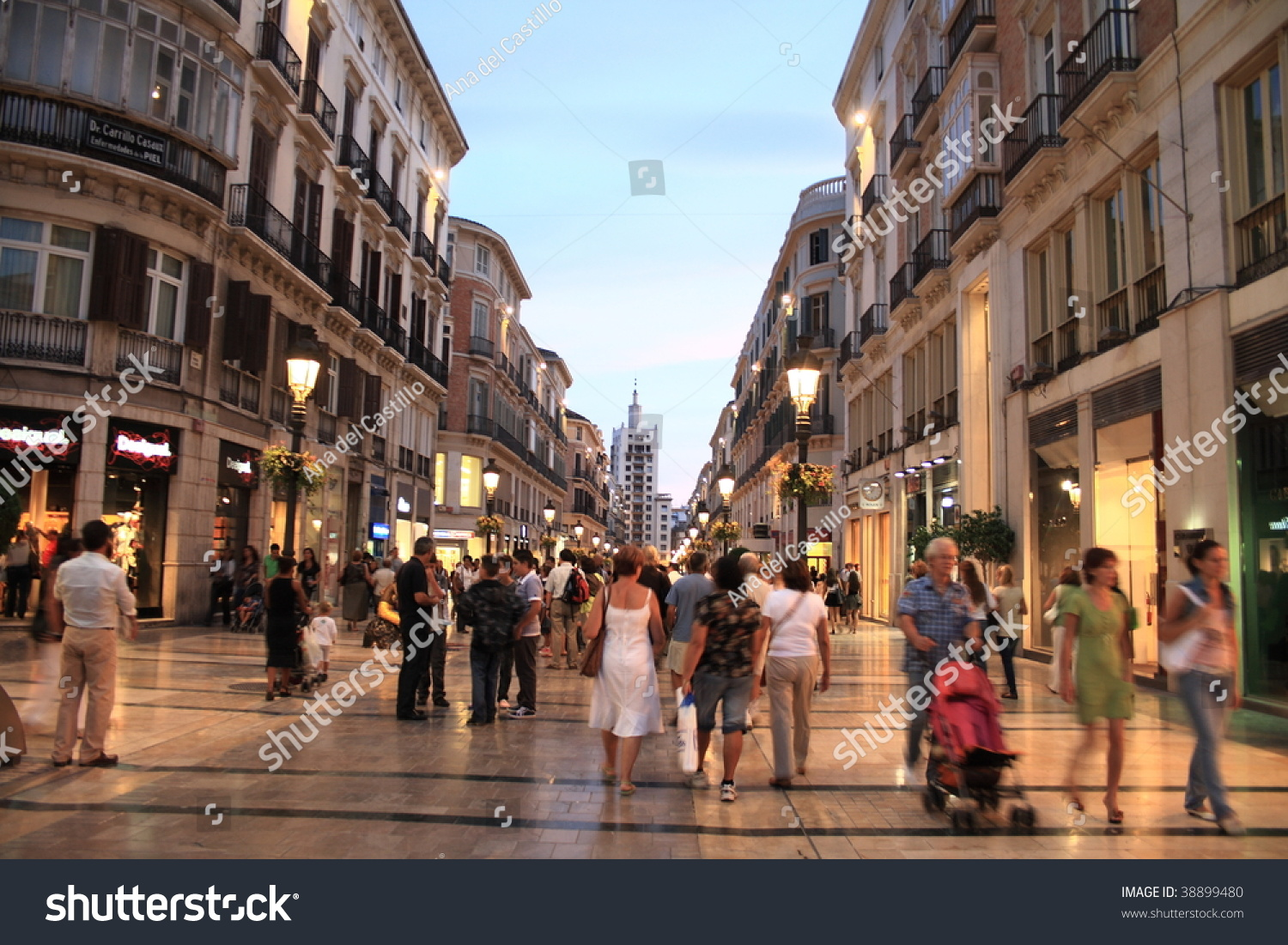 larios street the main street of malaga andalusia spain stock photo 38899480 shutterstock. Black Bedroom Furniture Sets. Home Design Ideas