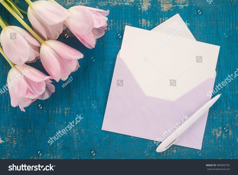 Flowers Envelope Pen On Wooden Background Stock Photo 389002702