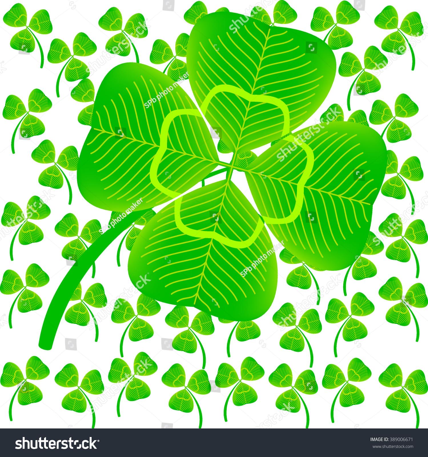 four leaf clover among threepetal flowers stock vector 389006671