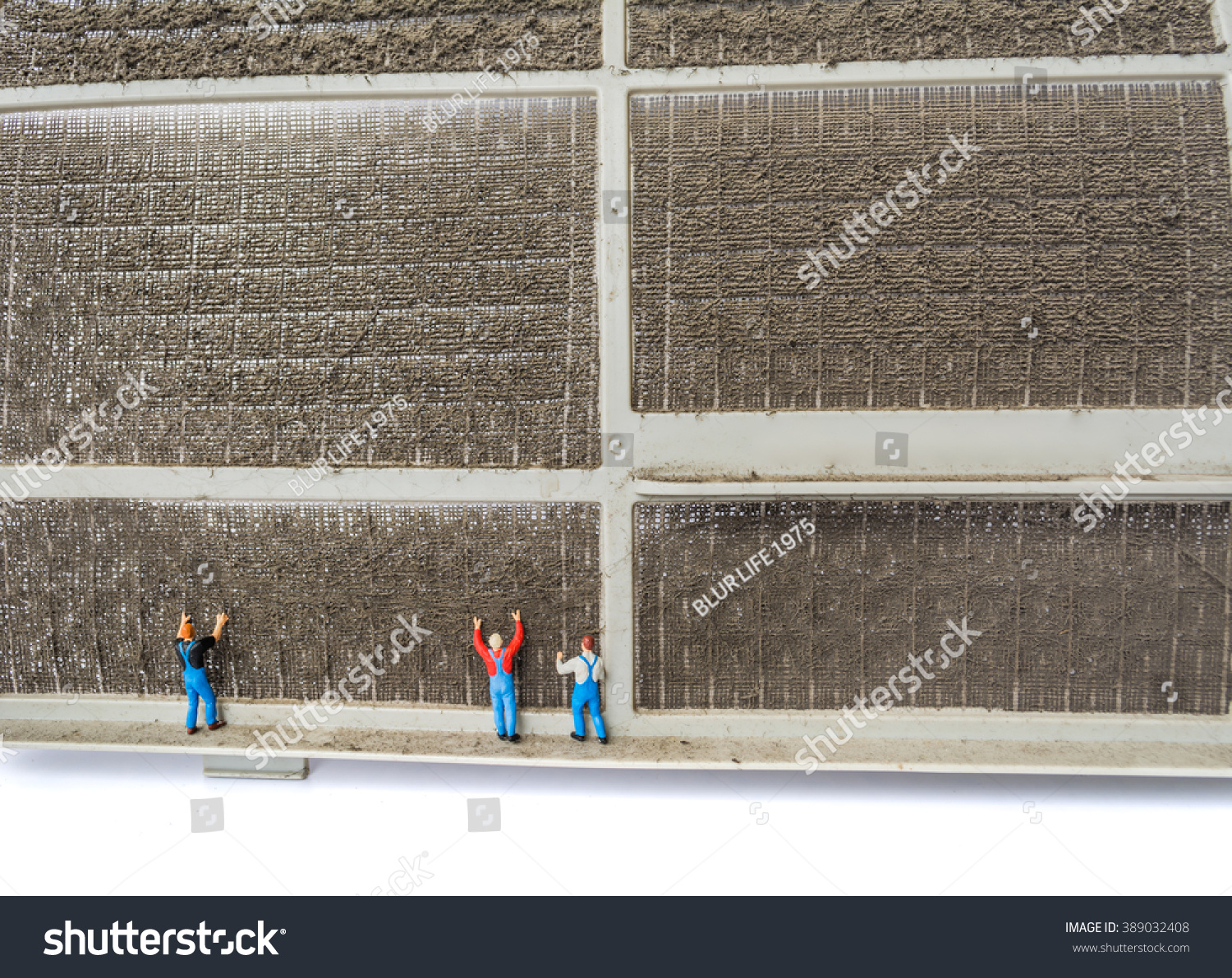 image of dirty air filter from air conditioner and small dolls try to clean  it (