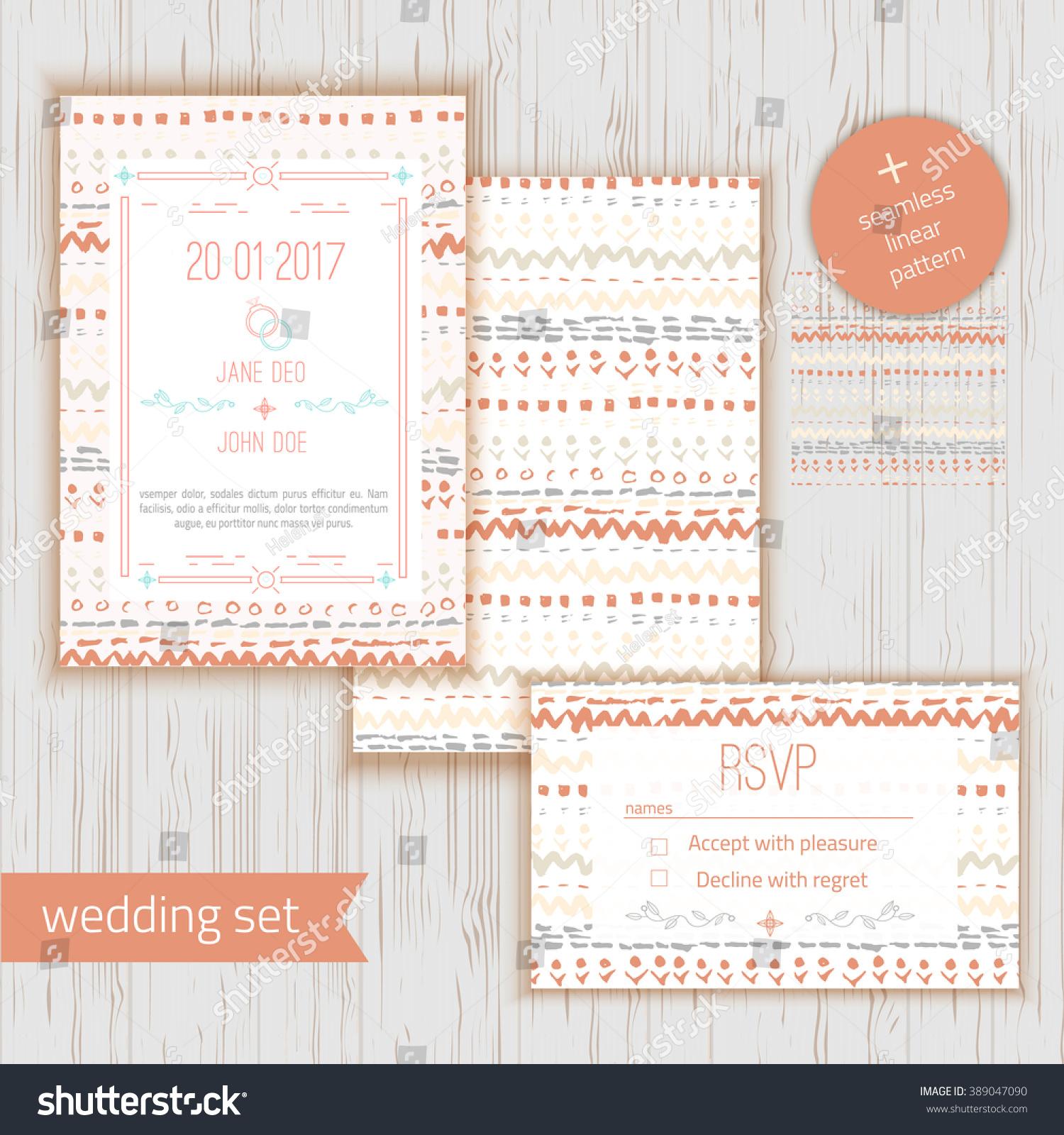 Stylish Rustic Save Date Wedding Invitation Stock Vector 389047090 ...