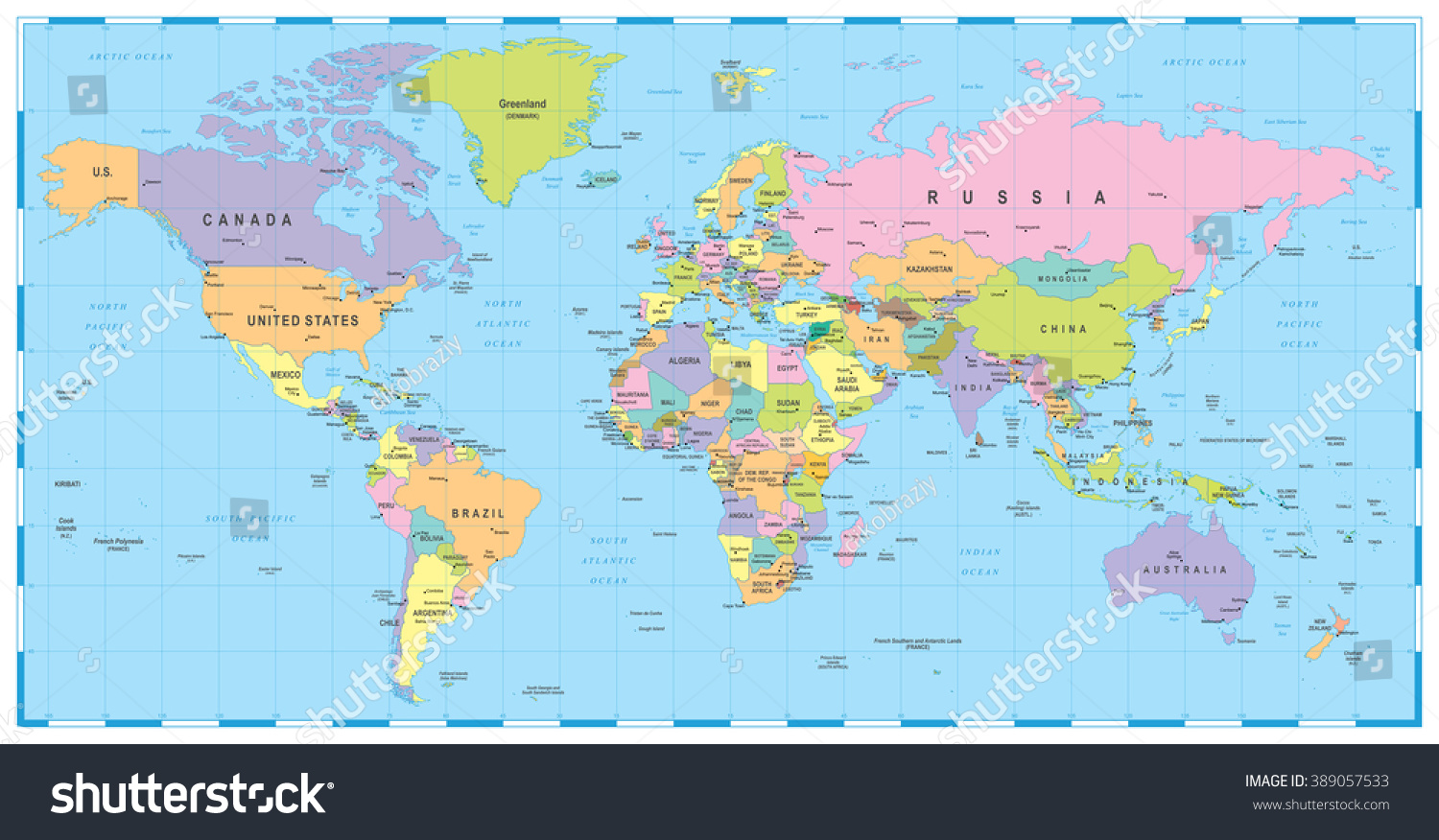 Royalty free colored world map borders countries 389057533 colored world map borders countries and cities illustration image contains next layers land contours country and land names city names water gumiabroncs Images