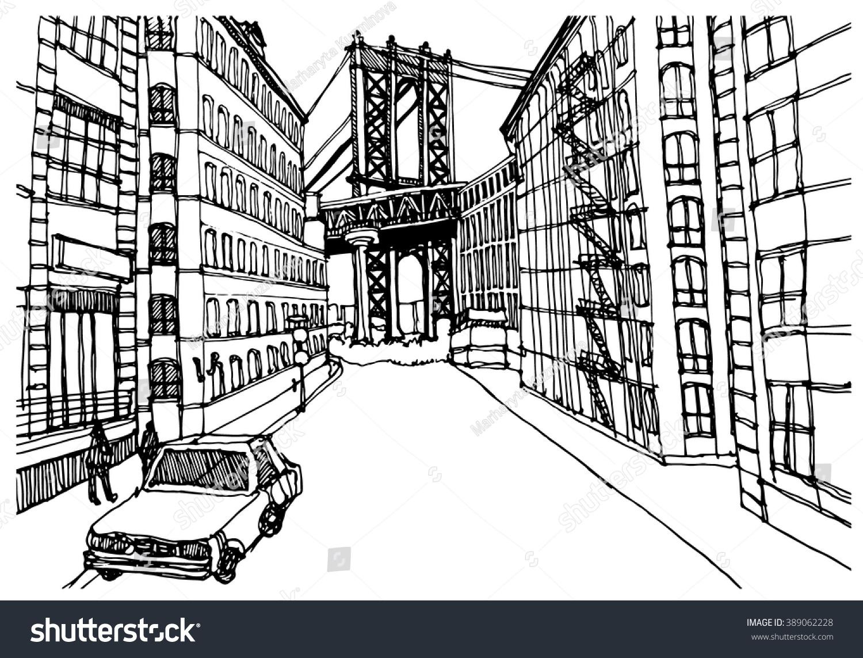 Scene Street Illustration Hand Drawn Ink Stock Photo (Photo, Vector ...