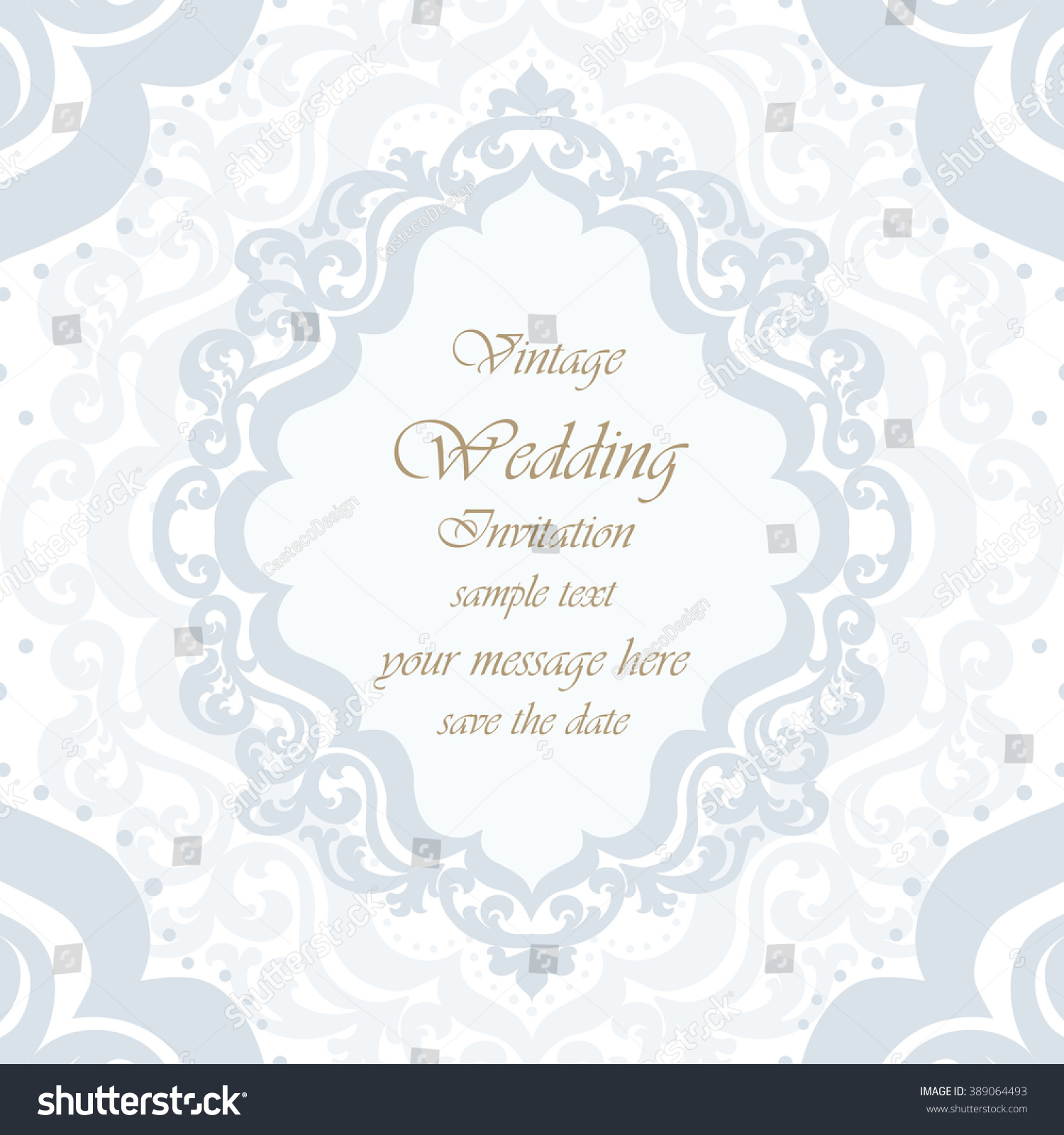 Wedding Invitation Card Lace Ornament Blue Stock Vector (Royalty ...