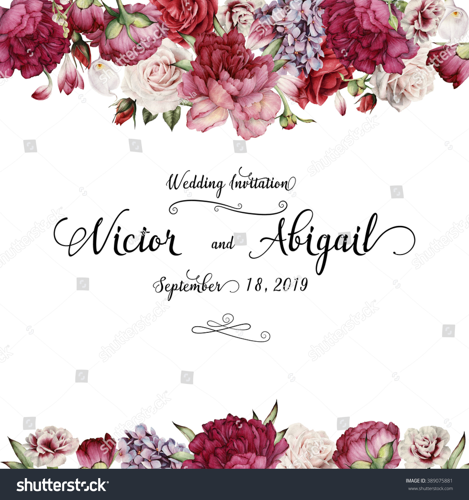 Greeting card flowers watercolor can be stock illustration 389075881 greeting card with flowers watercolor can be used as invitation card for wedding izmirmasajfo