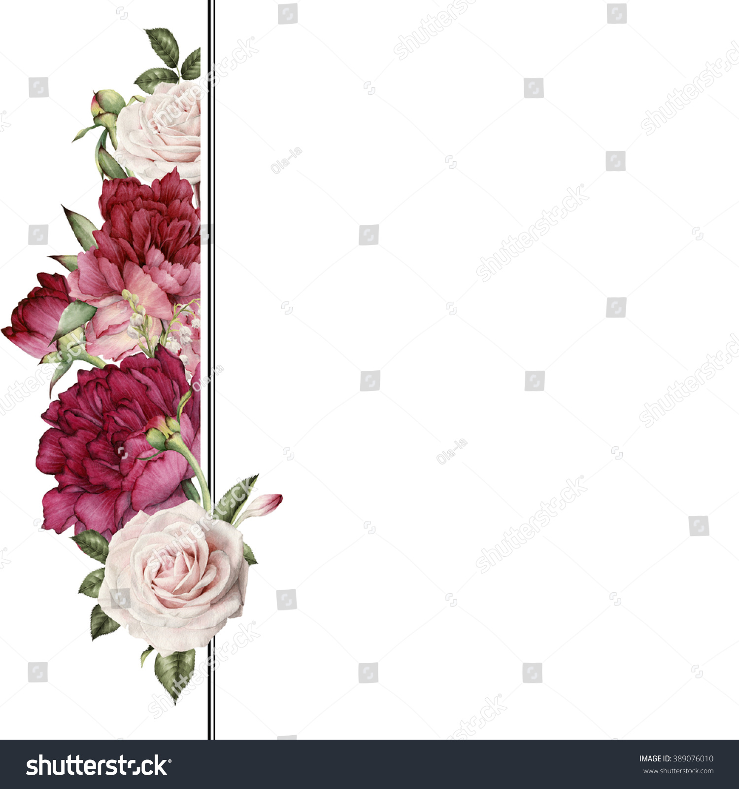 Greeting Card Flowers Watercolor Can Be Stock Illustration 389076010