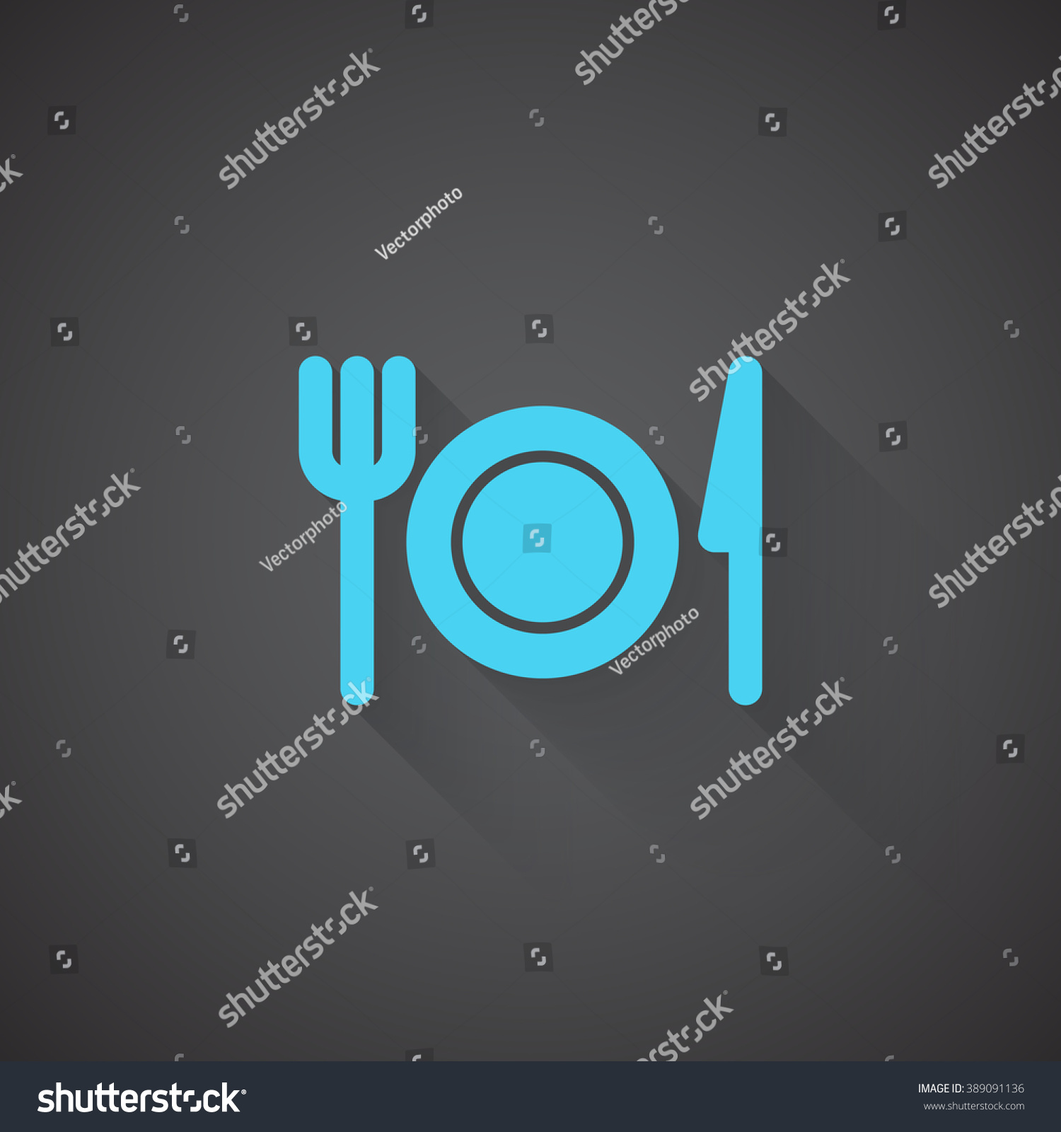 Flat Dinner Web App Icon On Stock Illustration - Royalty Free Stock