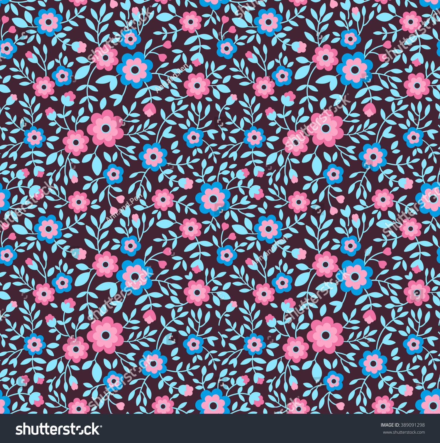 Cute Pattern Small Flower Small Colorful Stock Vector