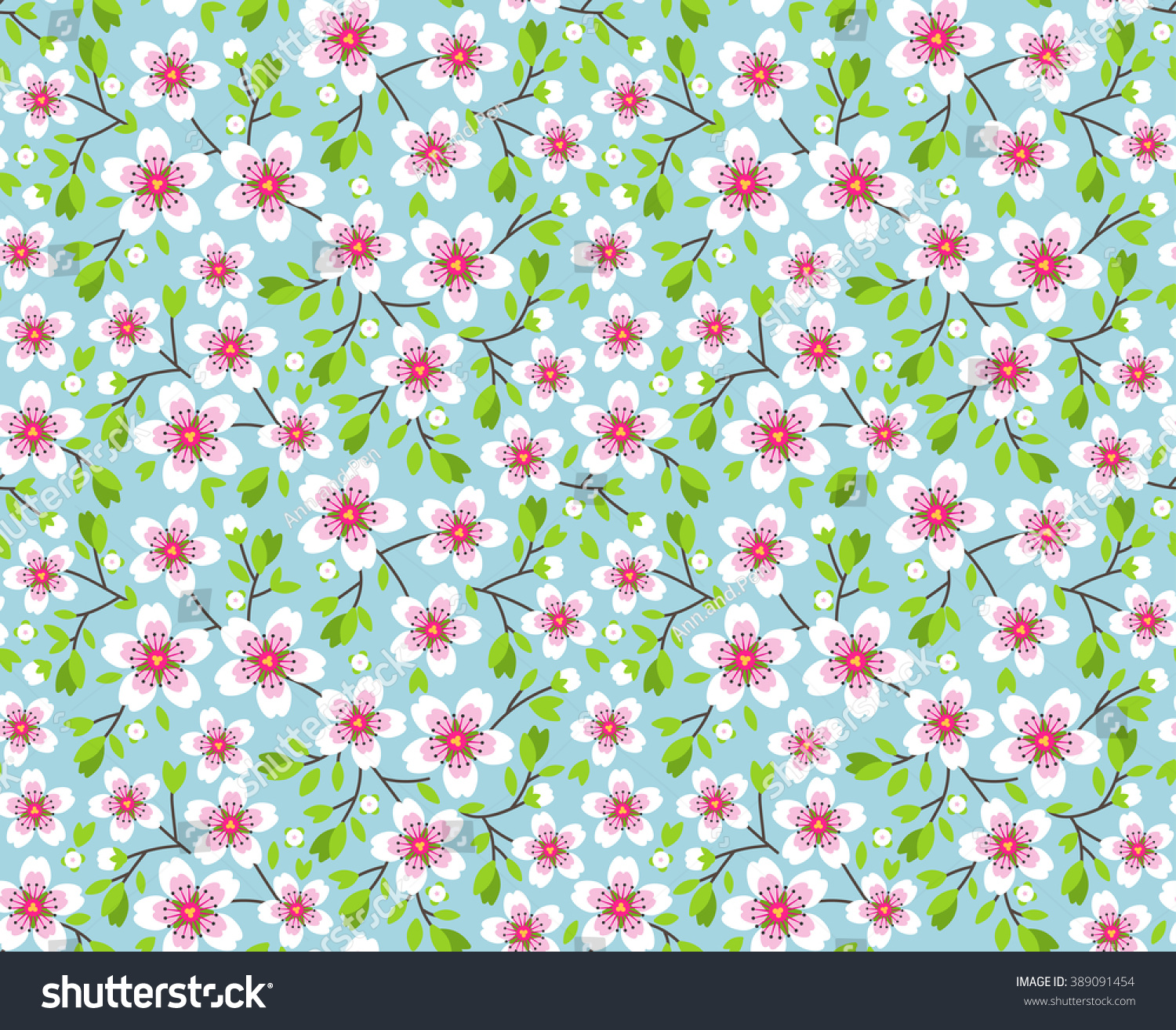 Cute spring flower - Cute Pattern In Small Flower Pink Sakura Flowers Blossoming Japanese Cherry Symbol Of