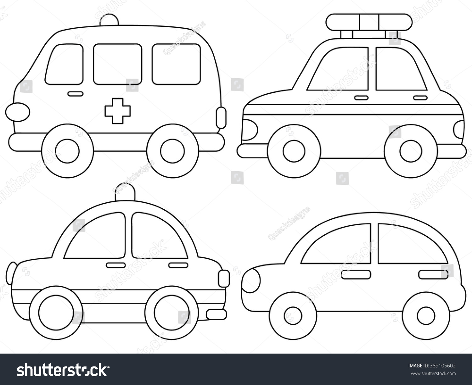 Set Cute Car Coloring Page Illustration Stock Vector 389105602