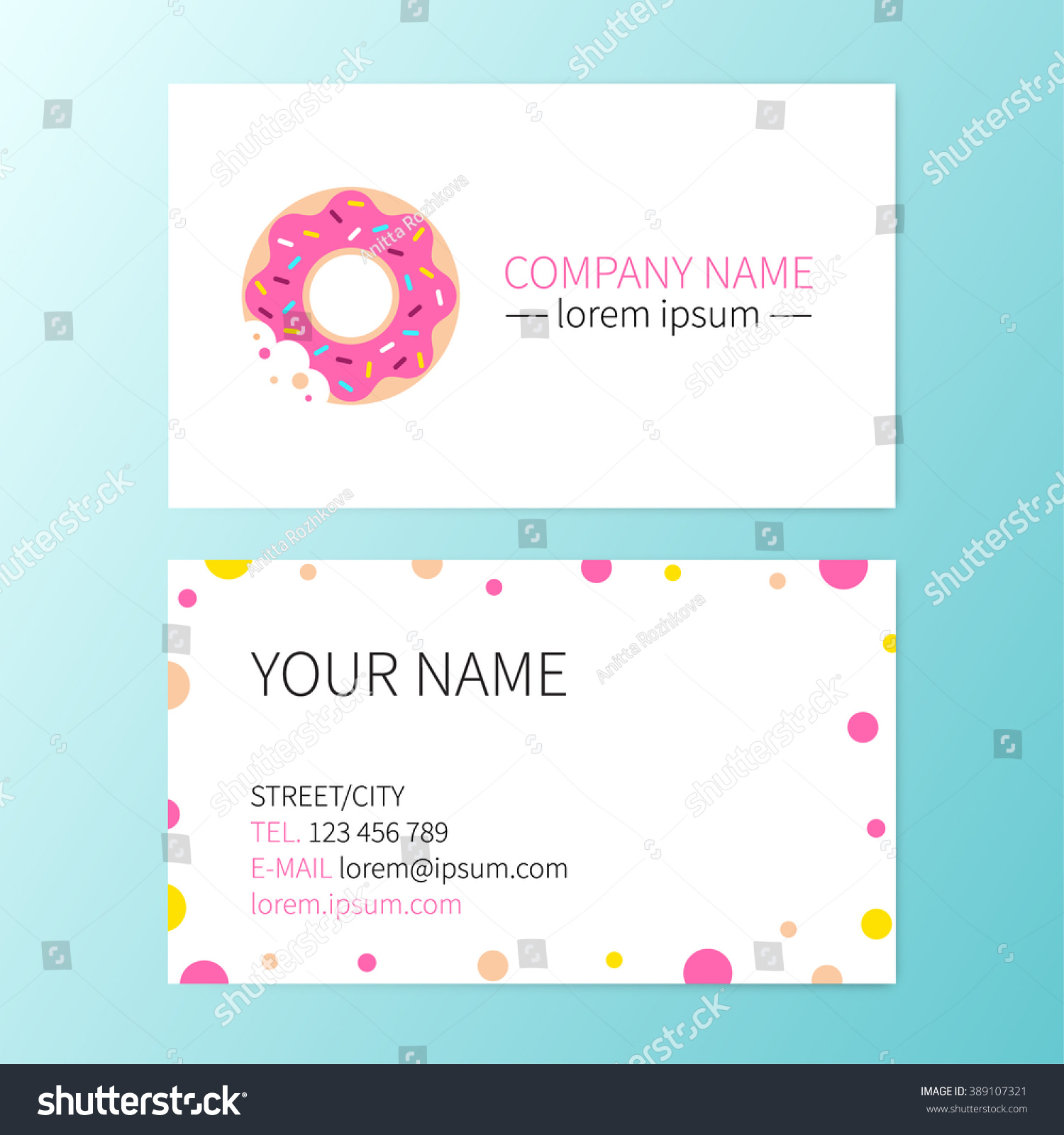 vector sweet business card donut cafe stock vector