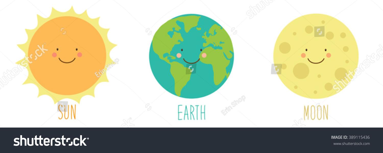 Earth and moon cartoon character