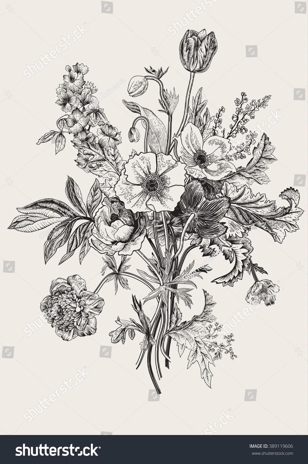 Botanical illustration black and white - photo#8