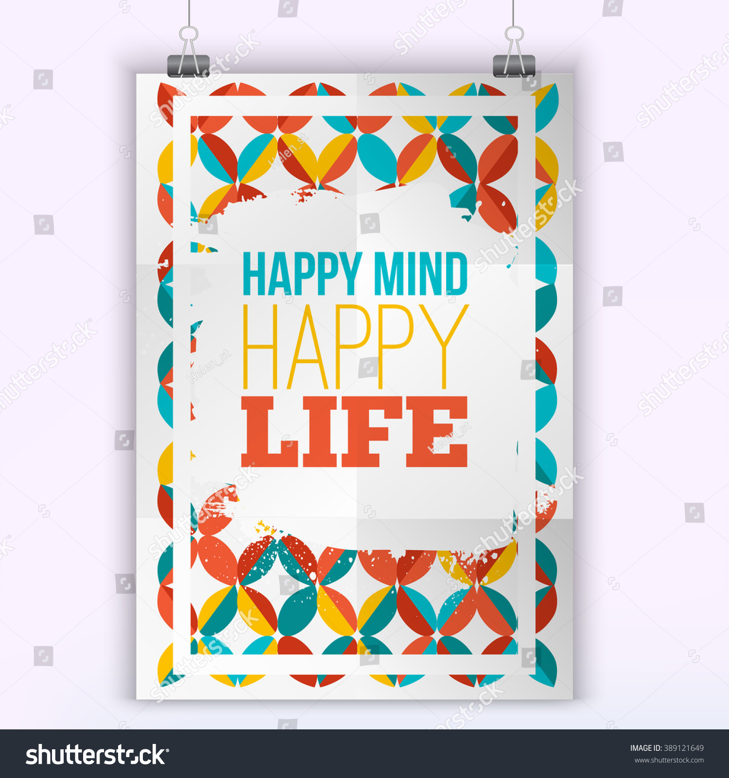Happy Life Inspirational Quotes Vector Happy Mind Happy Life Inspirational Stock Vector 389121649