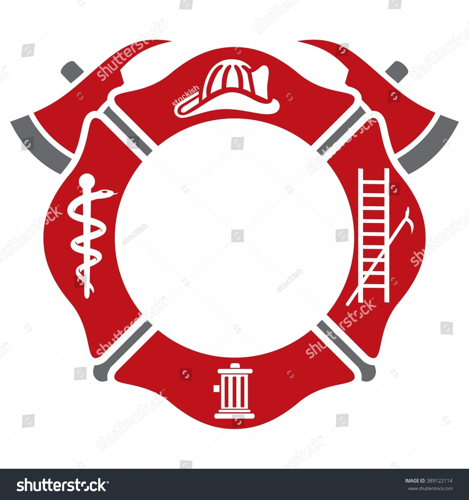 fireman emblem fire department symbol logo stock vector