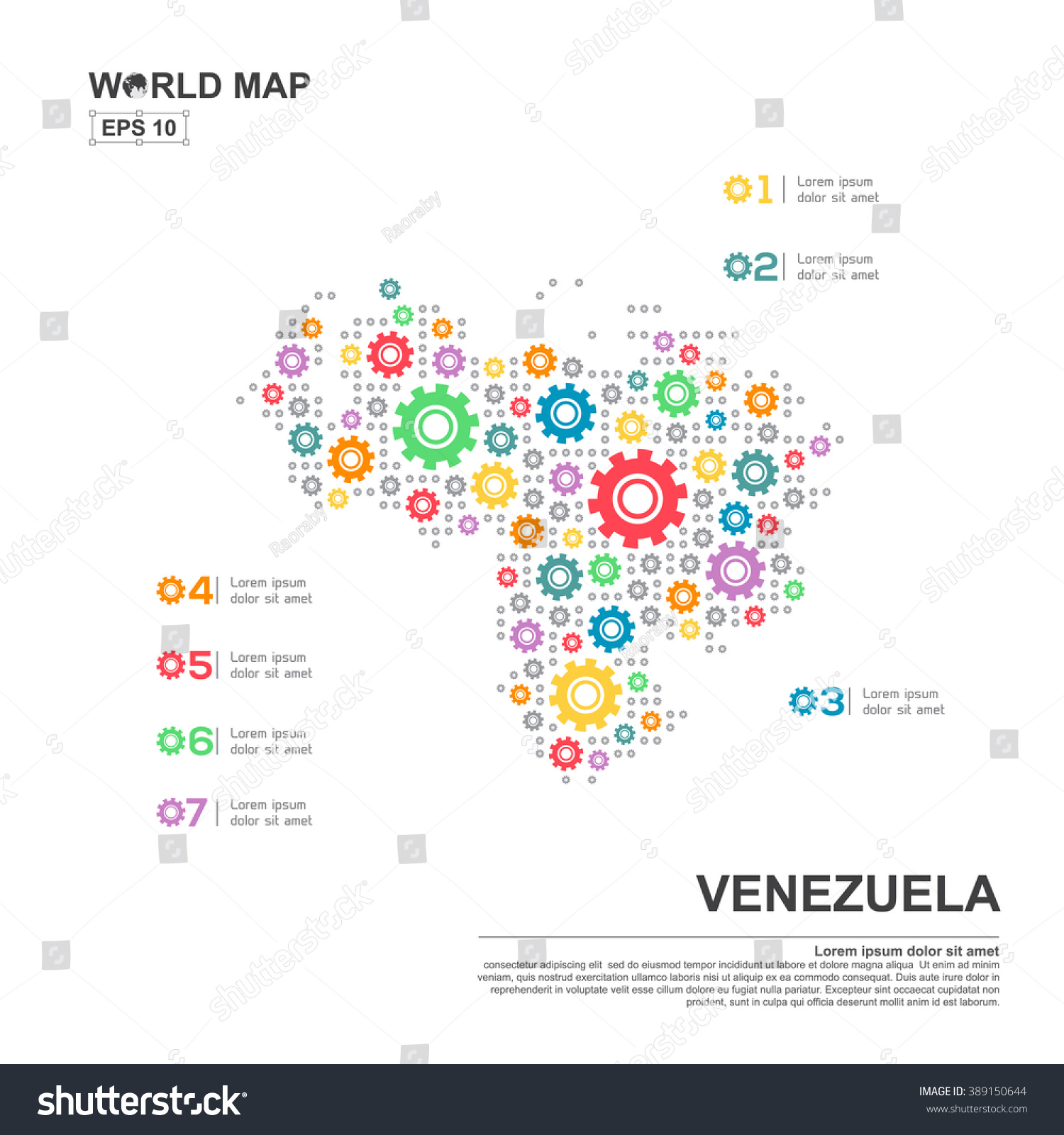 Map venezuela infographic design template gear stock vector map of venezuela infographic design template with gear chain pronofoot35fo Gallery