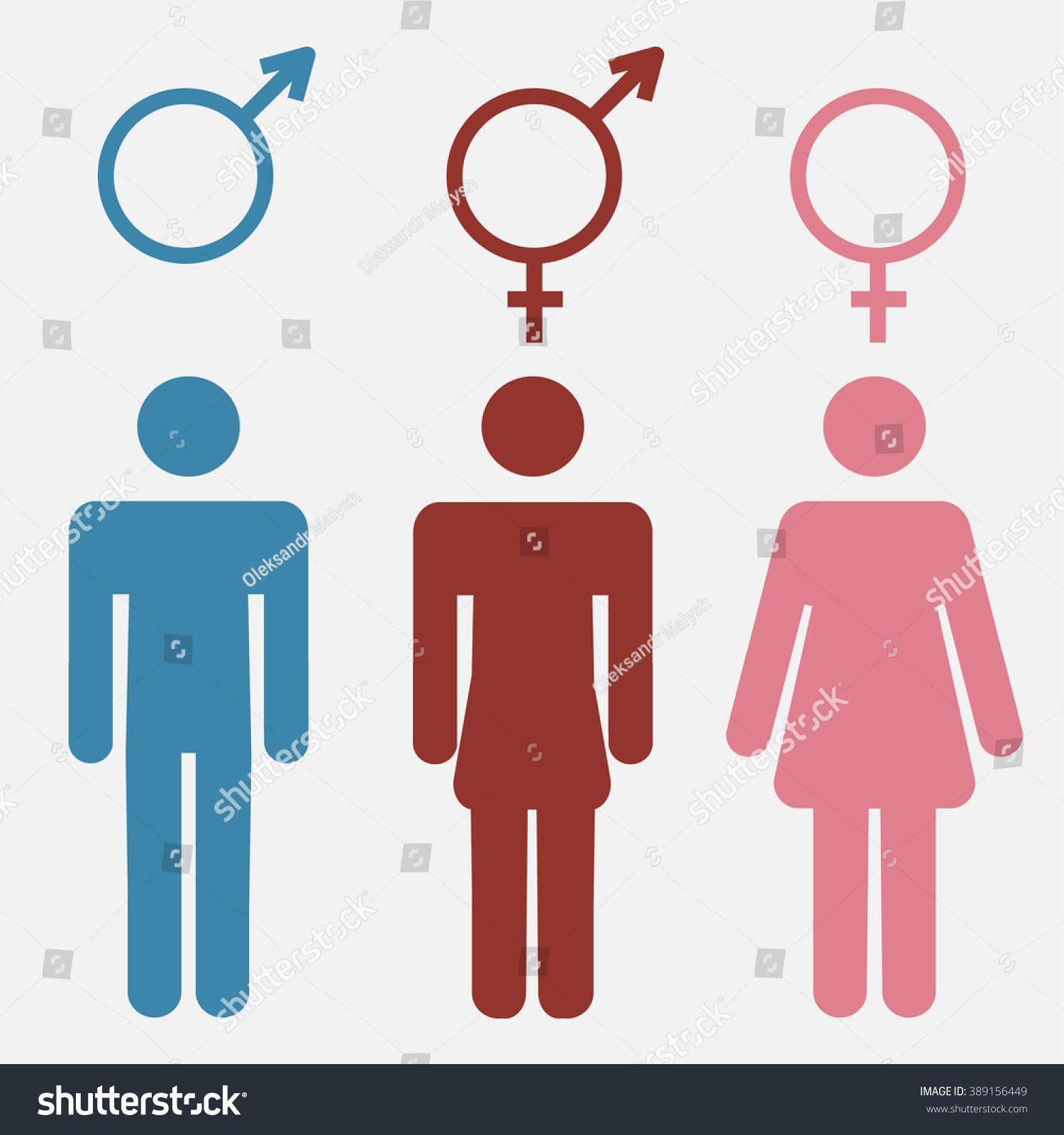 Set gender symbols stylized silhouettes male stock illustration set of gender symbols with stylized silhouettes male female and unisex or transgender buycottarizona