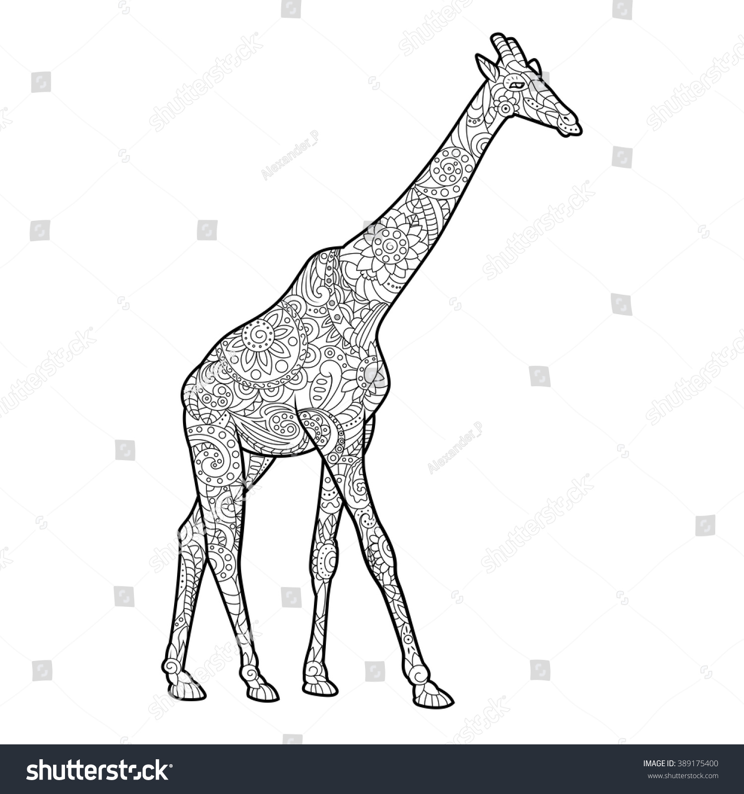 Giraffe coloring book for adults vector illustration. Anti-stress coloring  for adult. Zentangle