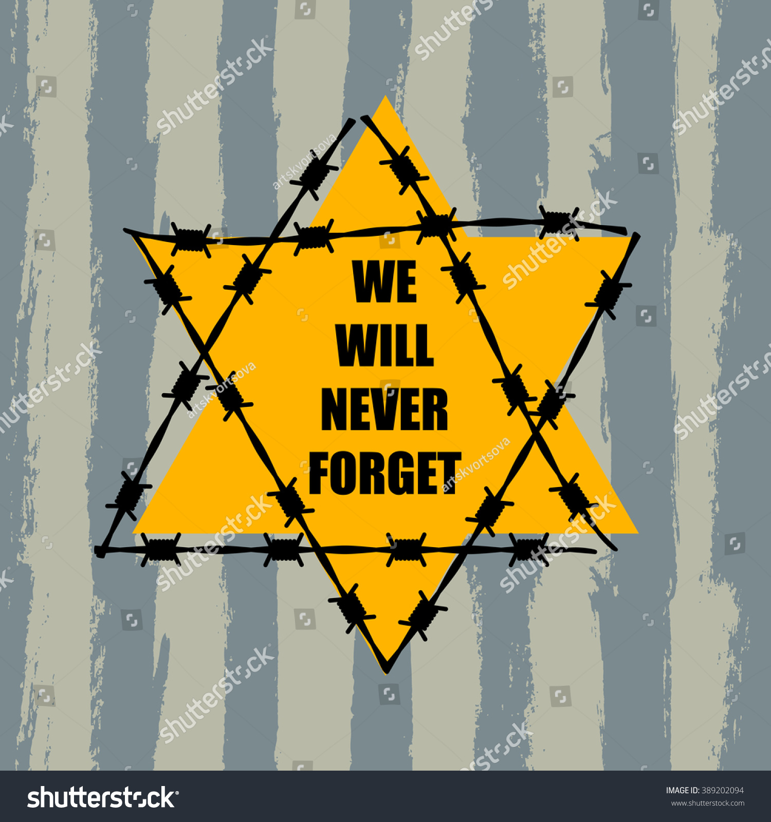 The Dodge Star And Jewish History: We Will Never Forget Holocaust Remembrance Stock Vector