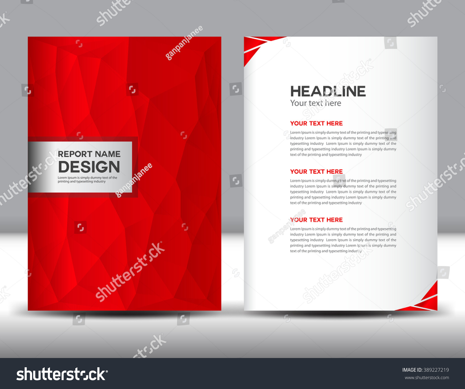 Red Cover Annual Report Templatepolygon Backgroundbrochure Stock
