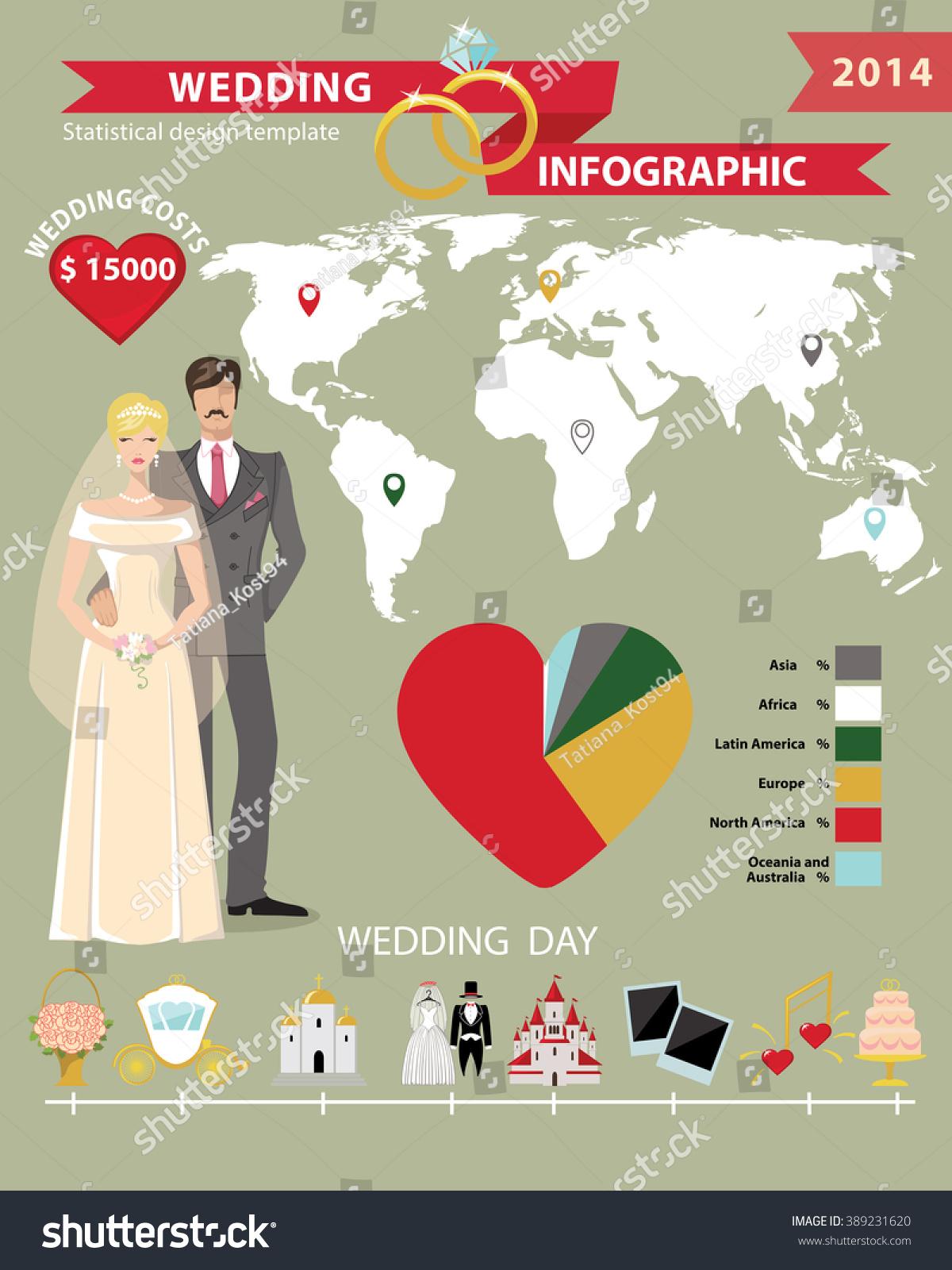 Wedding Infographics Set Cartoon World Map Bride Stock Illustration ...
