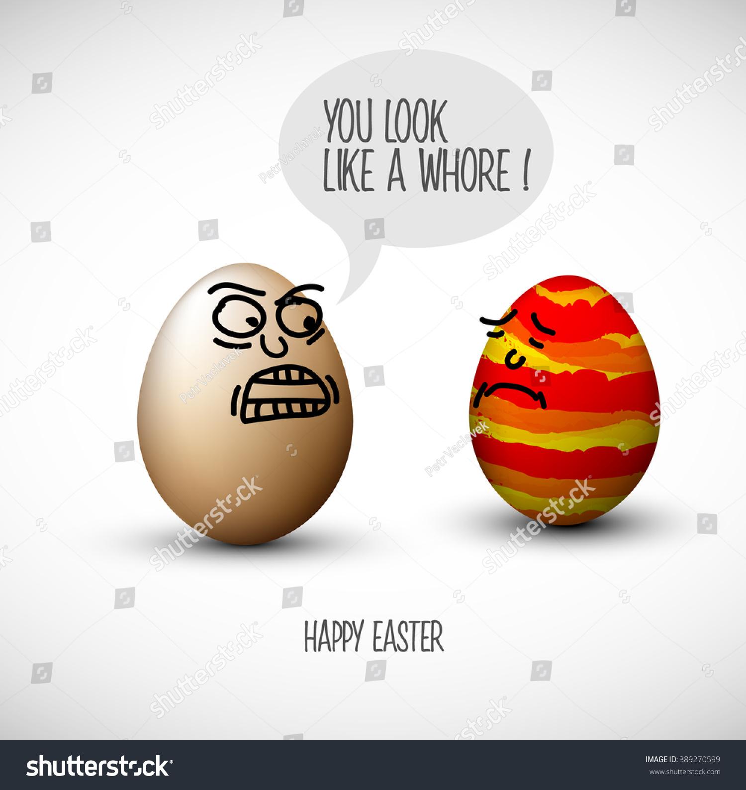 Funny Easter Eggs Speech Bubble Joke Stock Vector ...