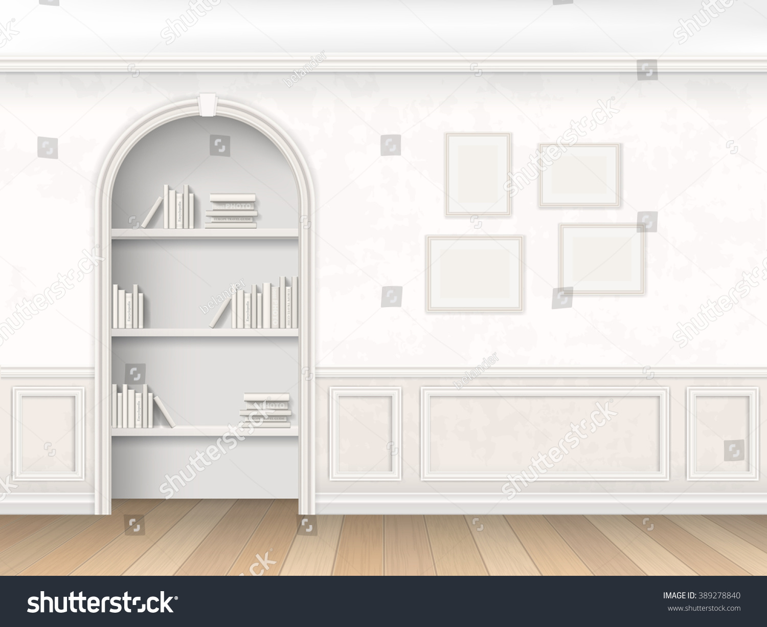 The Wall Room With Arch Books And Decorative Wall Panels