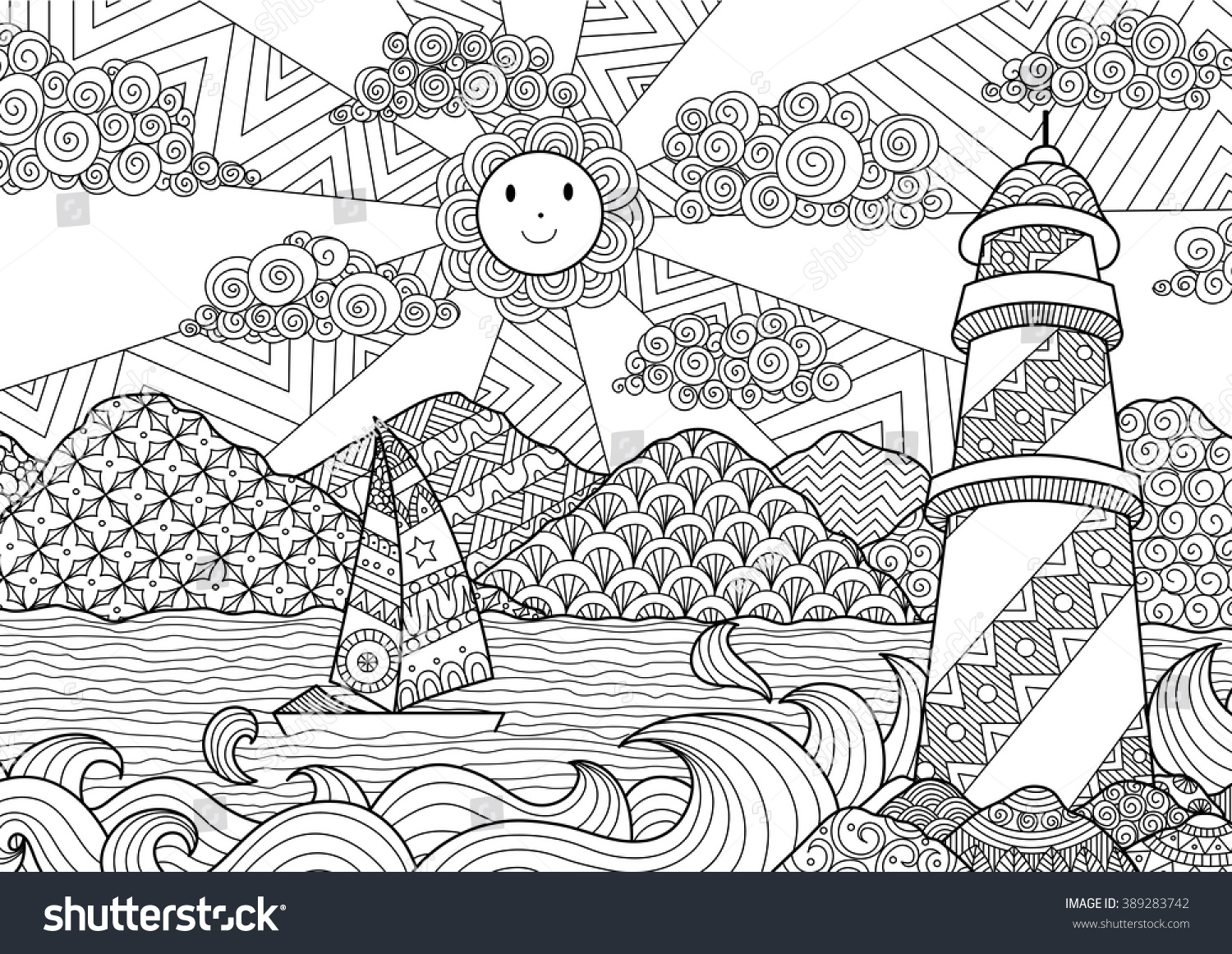 Seascape Line Art Design Coloring Book Stock Photo (Photo, Vector ...